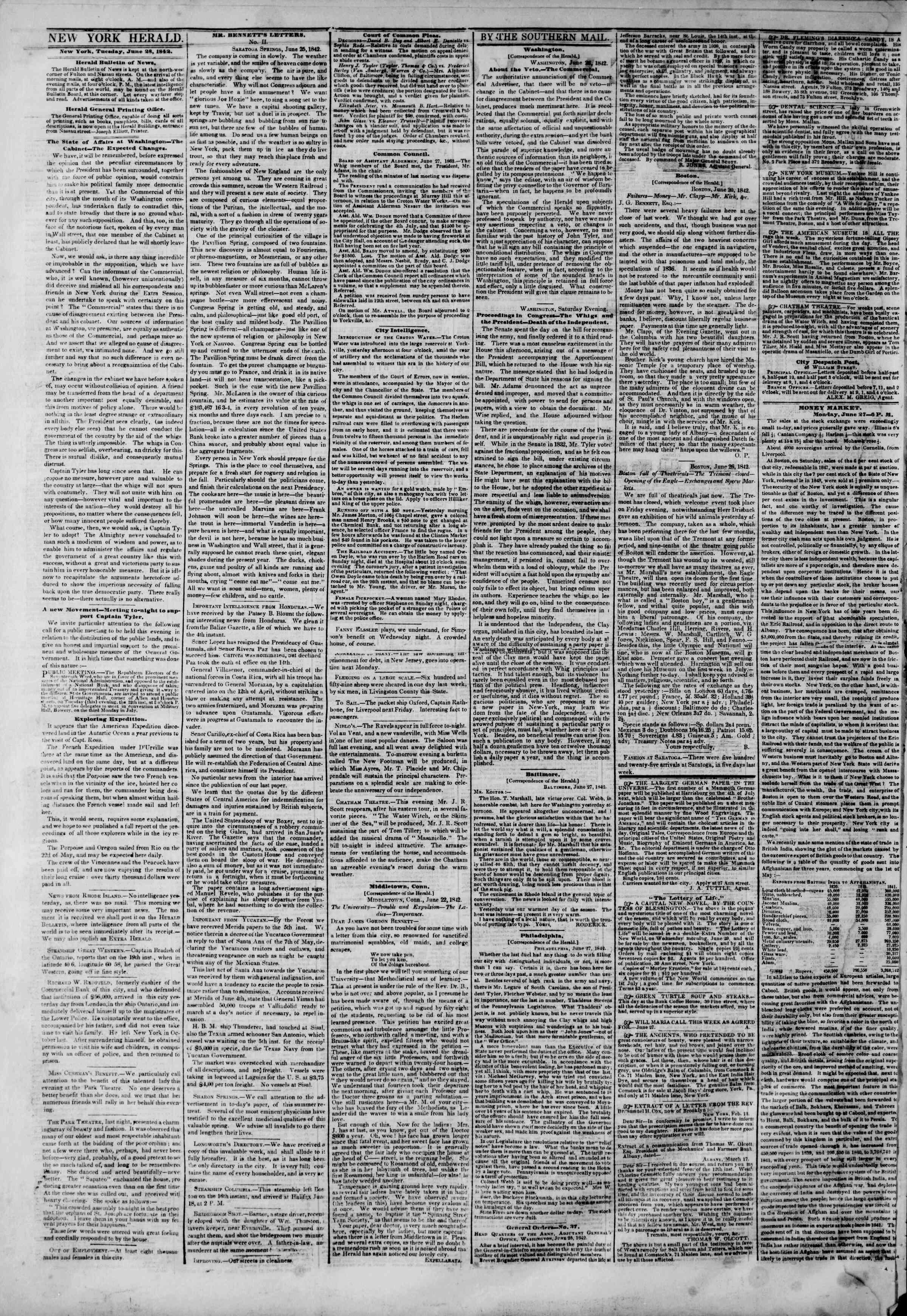June 28, 1842 Tarihli The New York Herald Gazetesi Sayfa 2