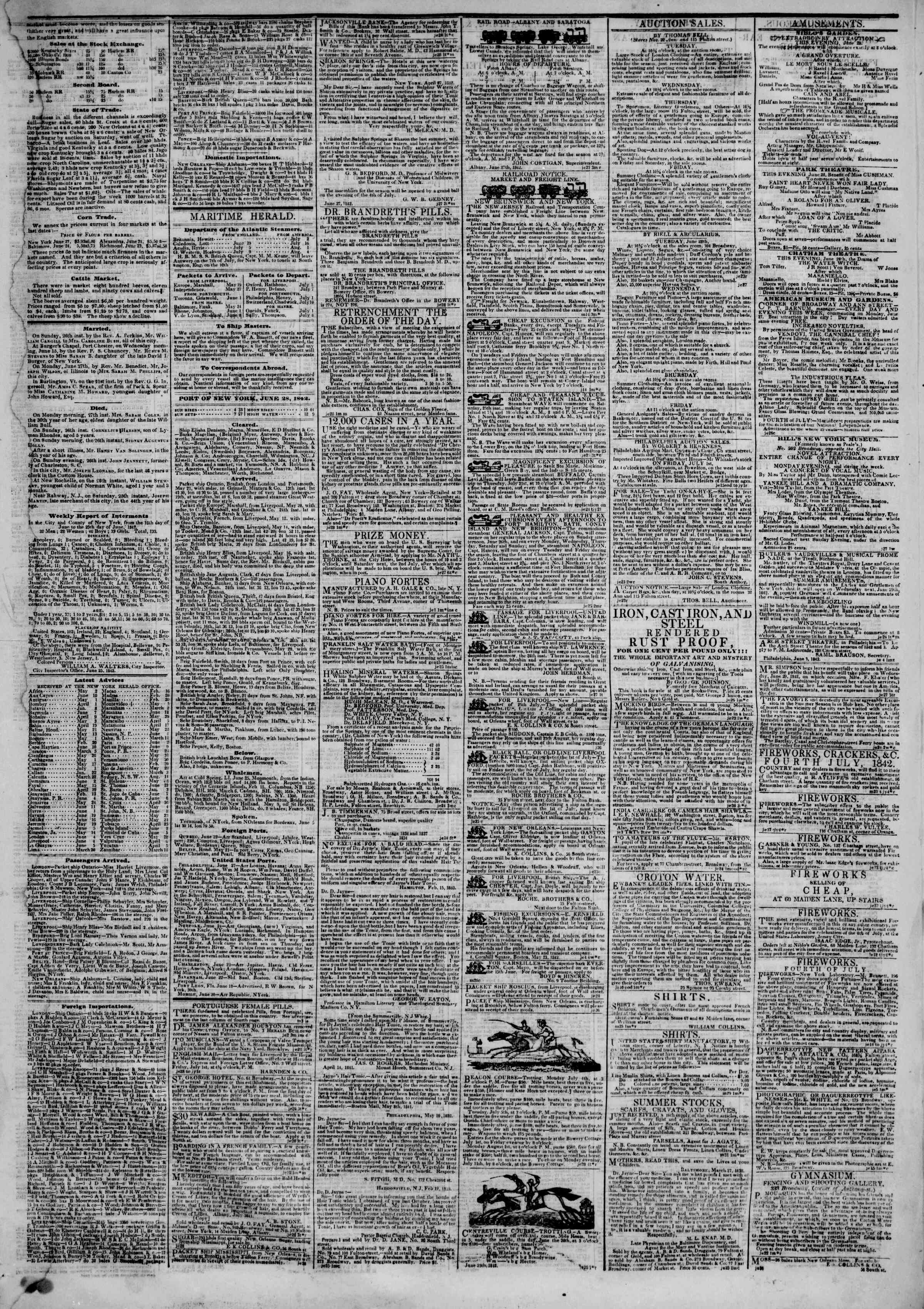 June 28, 1842 Tarihli The New York Herald Gazetesi Sayfa 3
