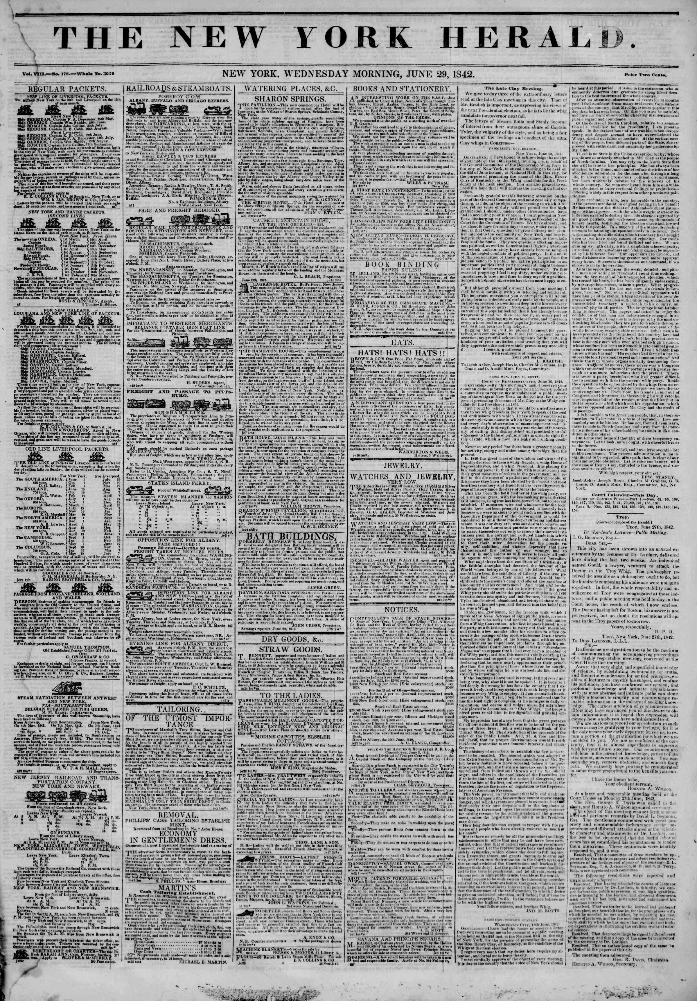 June 29, 1842 Tarihli The New York Herald Gazetesi Sayfa 1