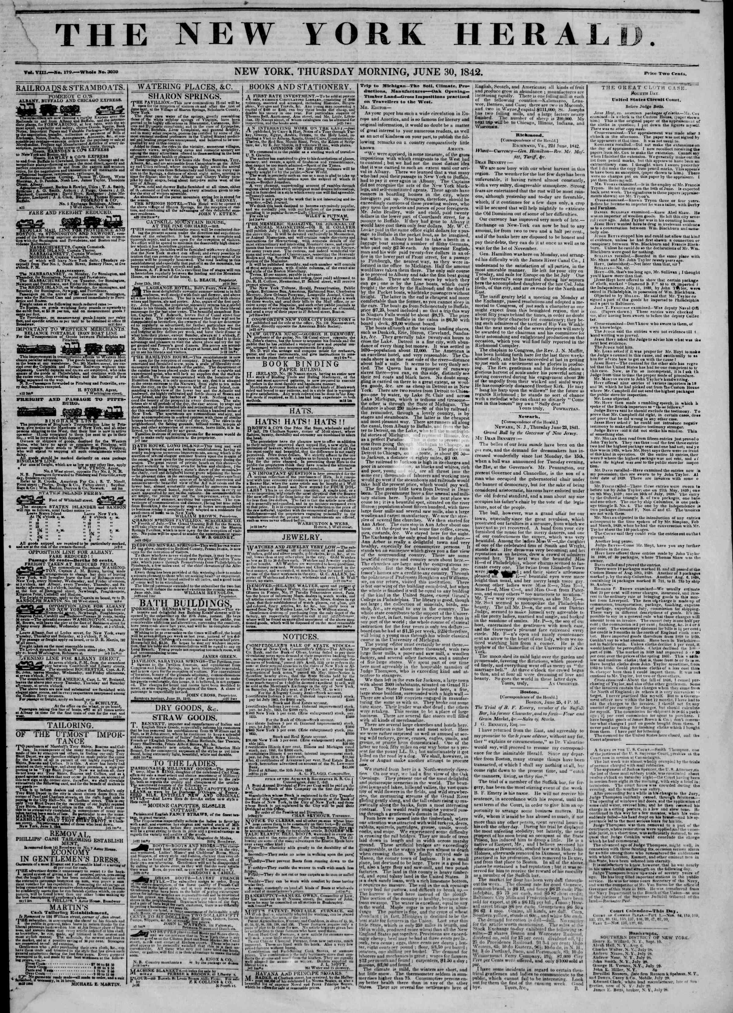 30 Haziran 1842 Tarihli The New York Herald Gazetesi Sayfa 1