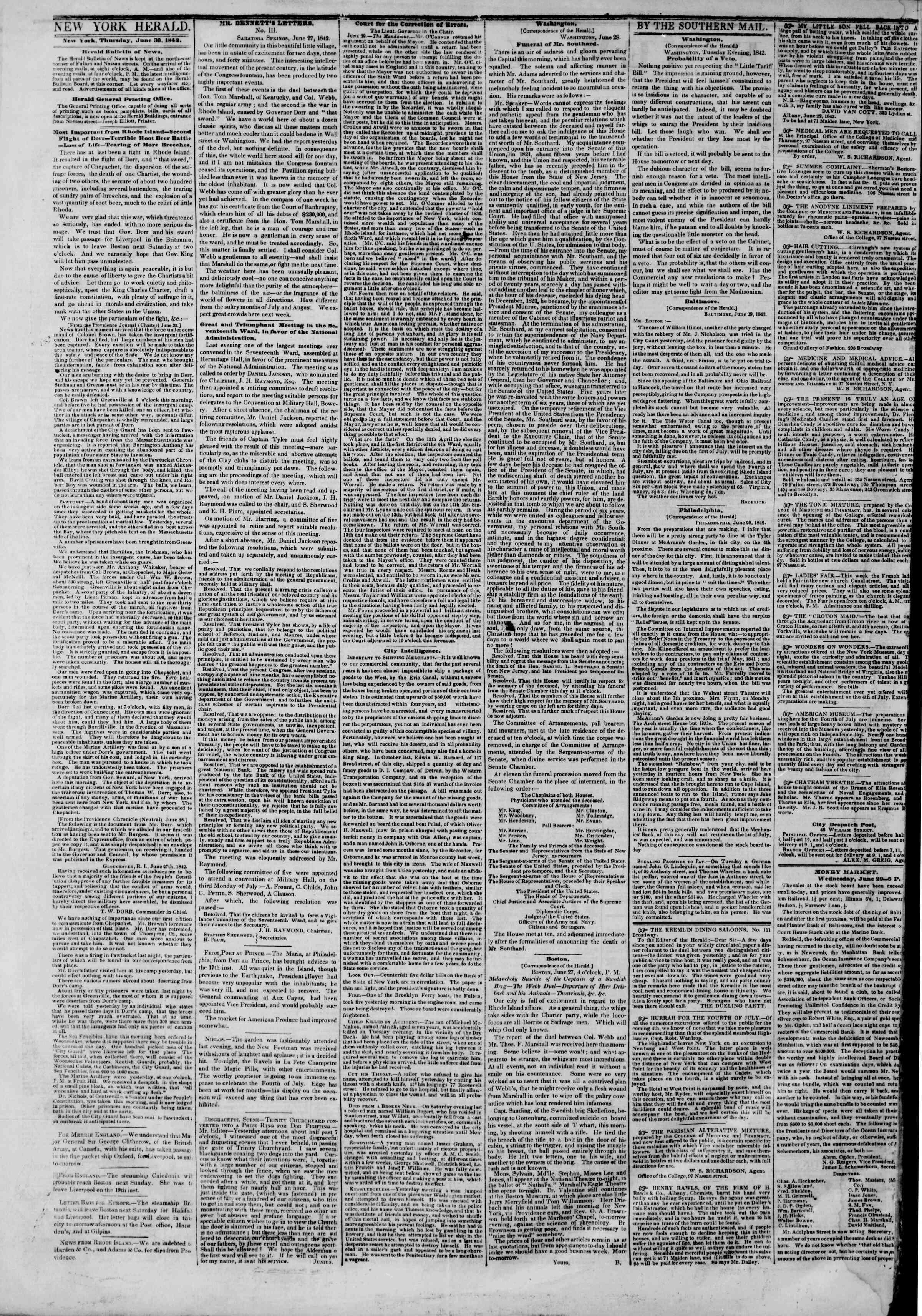 June 30, 1842 Tarihli The New York Herald Gazetesi Sayfa 2