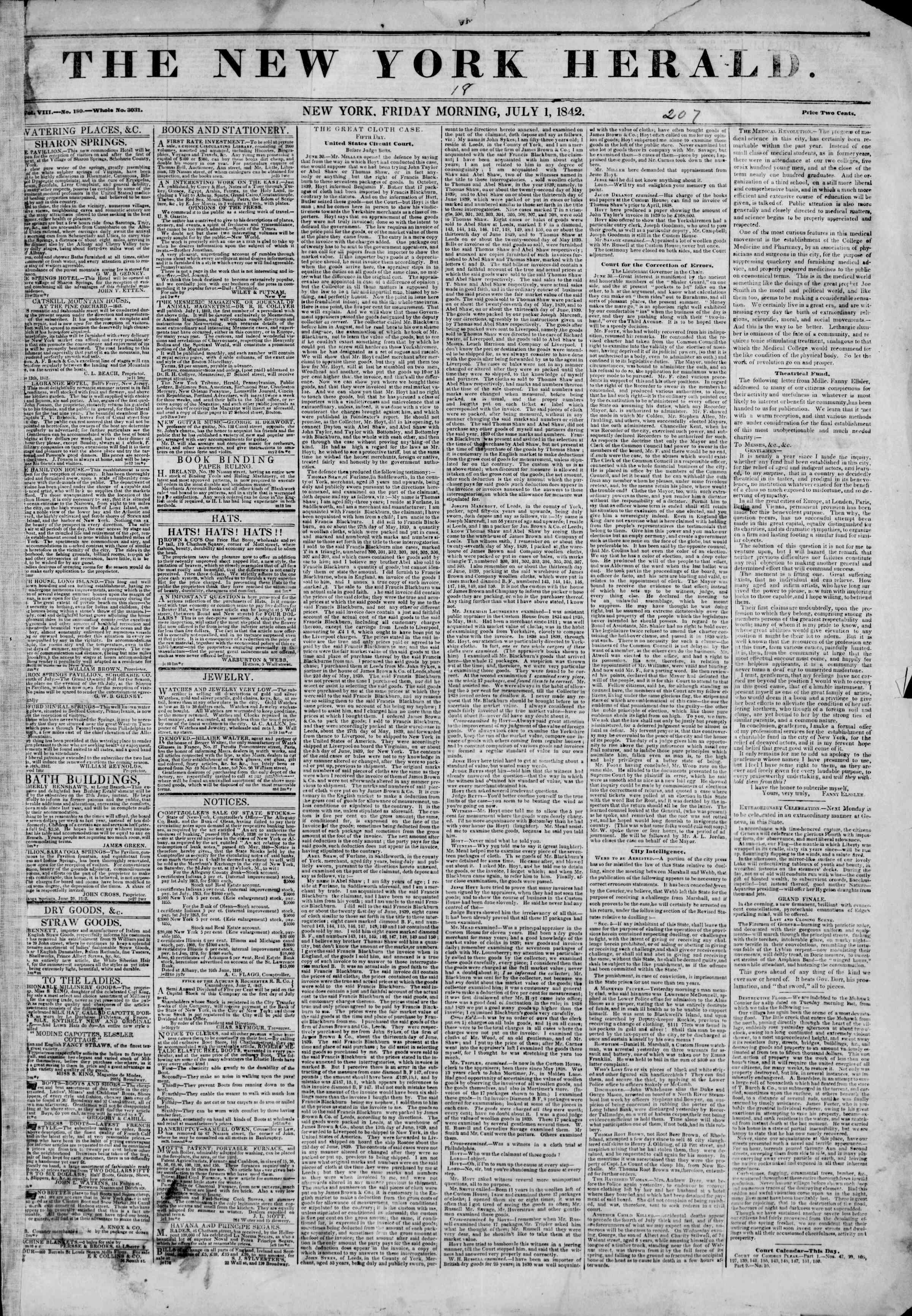 July 1, 1842 Tarihli The New York Herald Gazetesi Sayfa 1