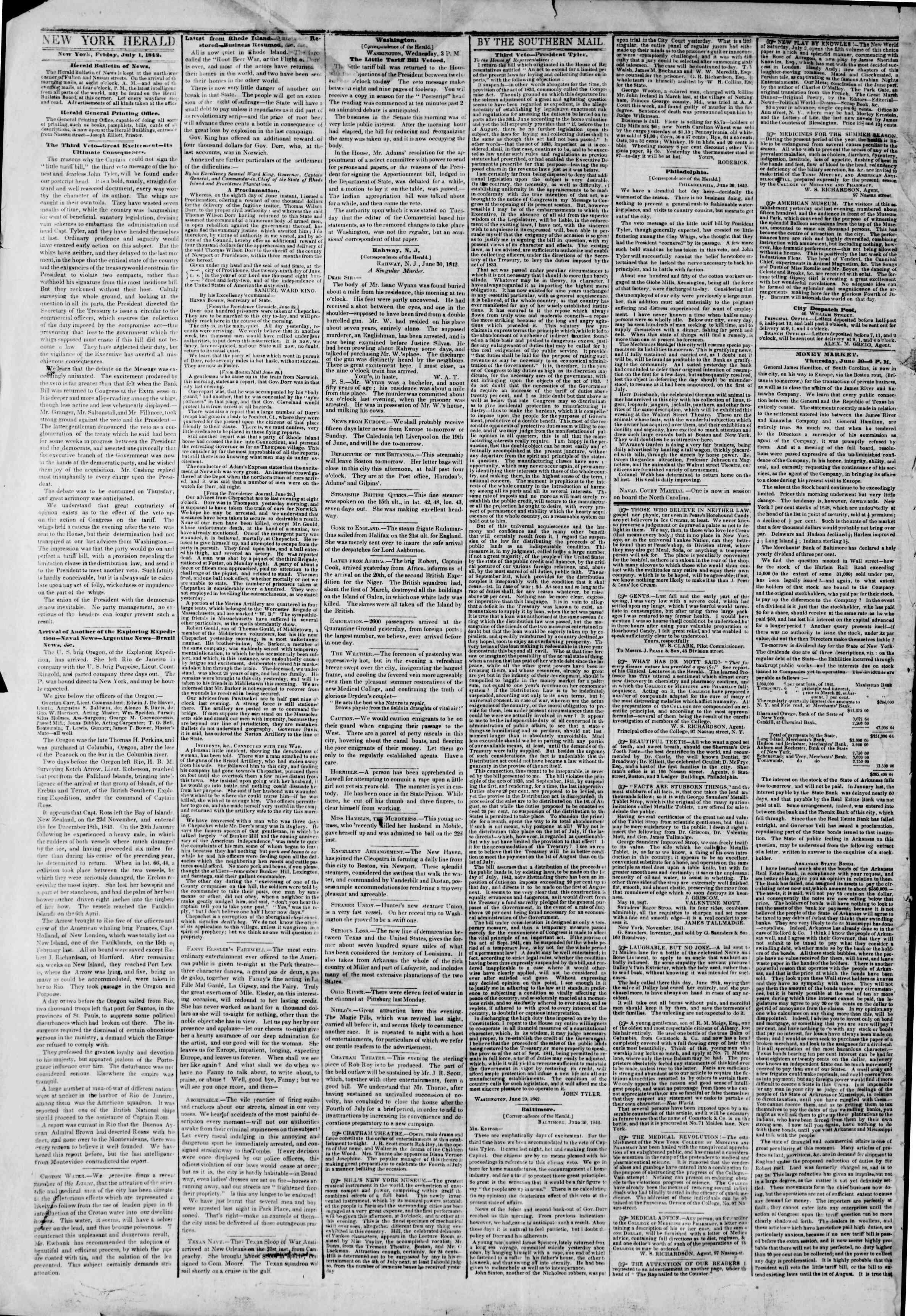 July 1, 1842 Tarihli The New York Herald Gazetesi Sayfa 2