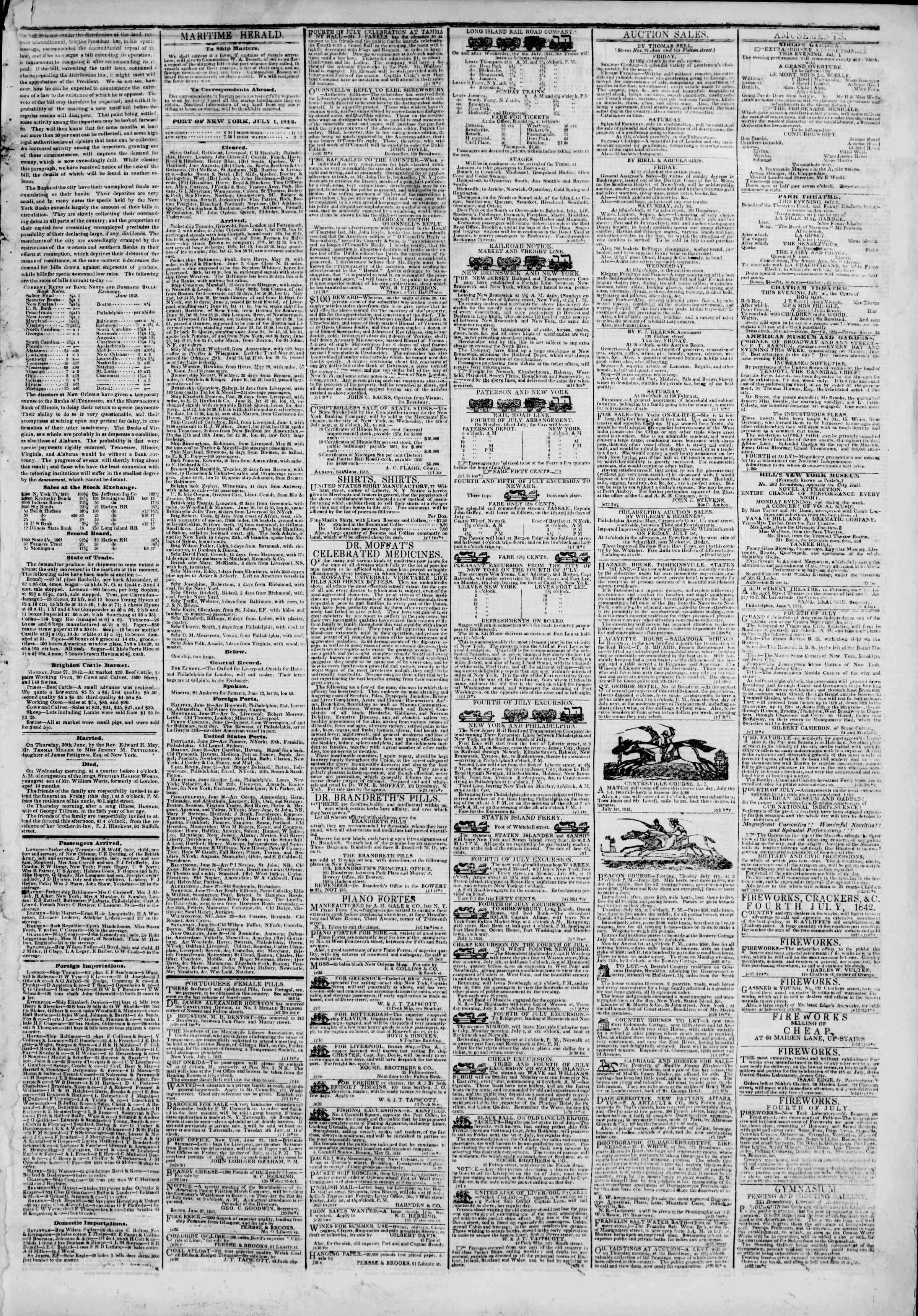 July 1, 1842 Tarihli The New York Herald Gazetesi Sayfa 3