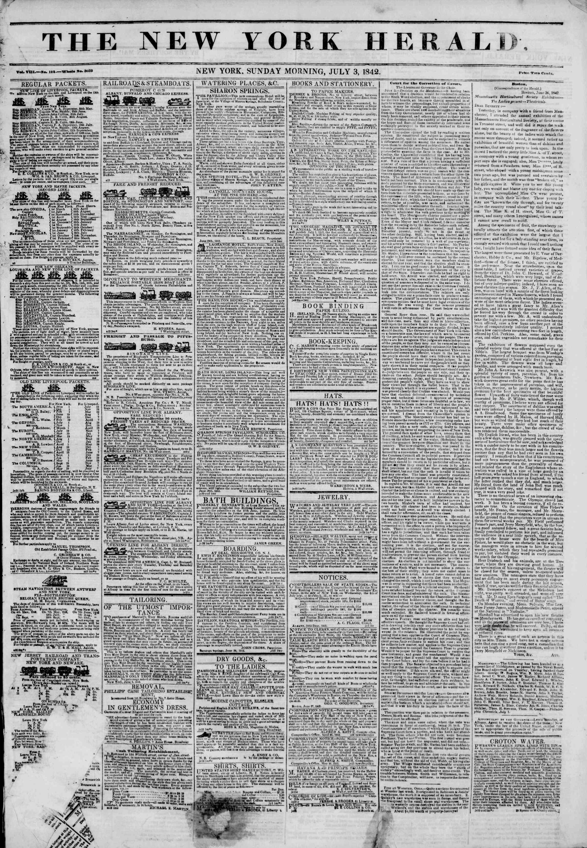 July 3, 1842 Tarihli The New York Herald Gazetesi Sayfa 1