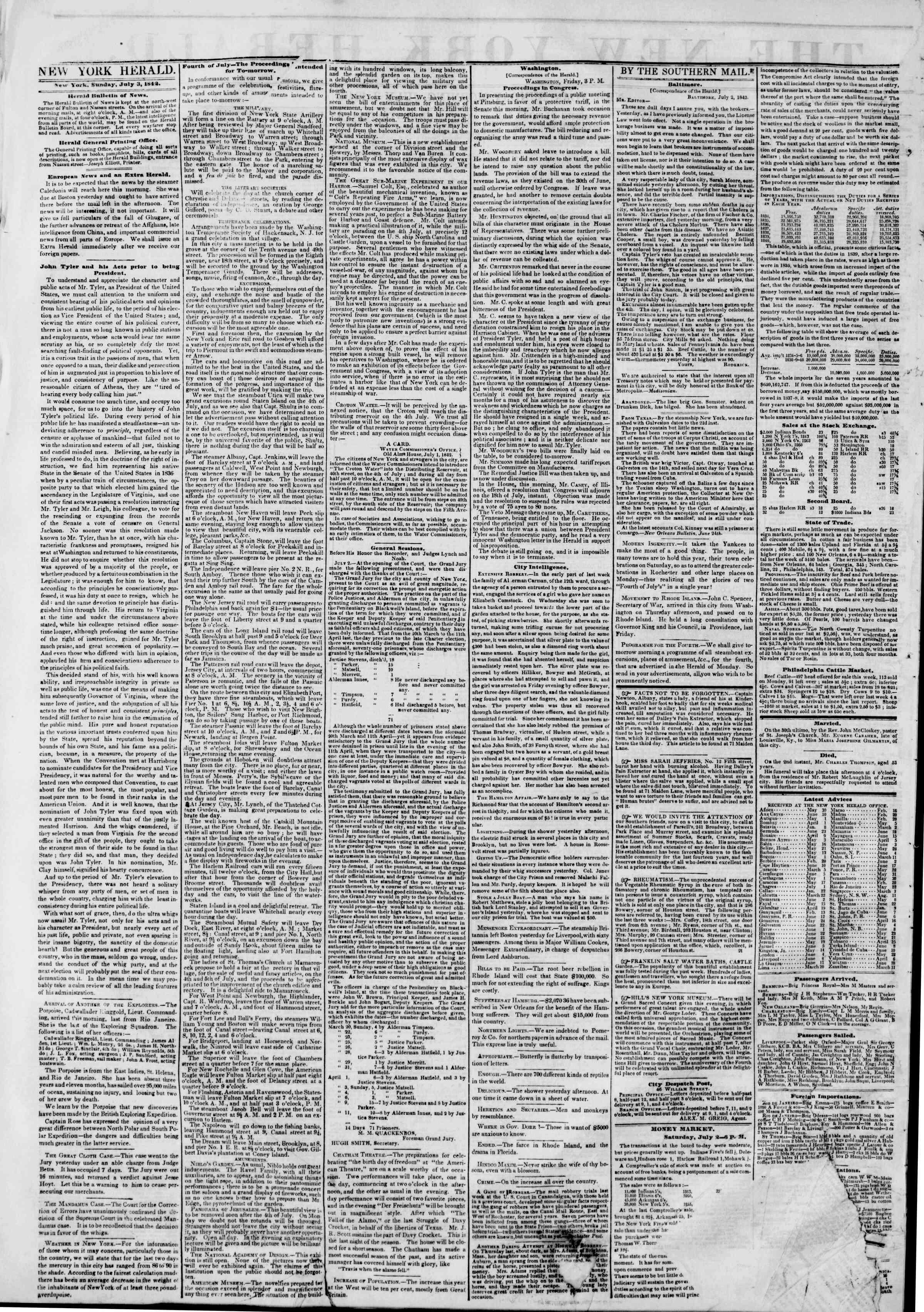 July 3, 1842 Tarihli The New York Herald Gazetesi Sayfa 2