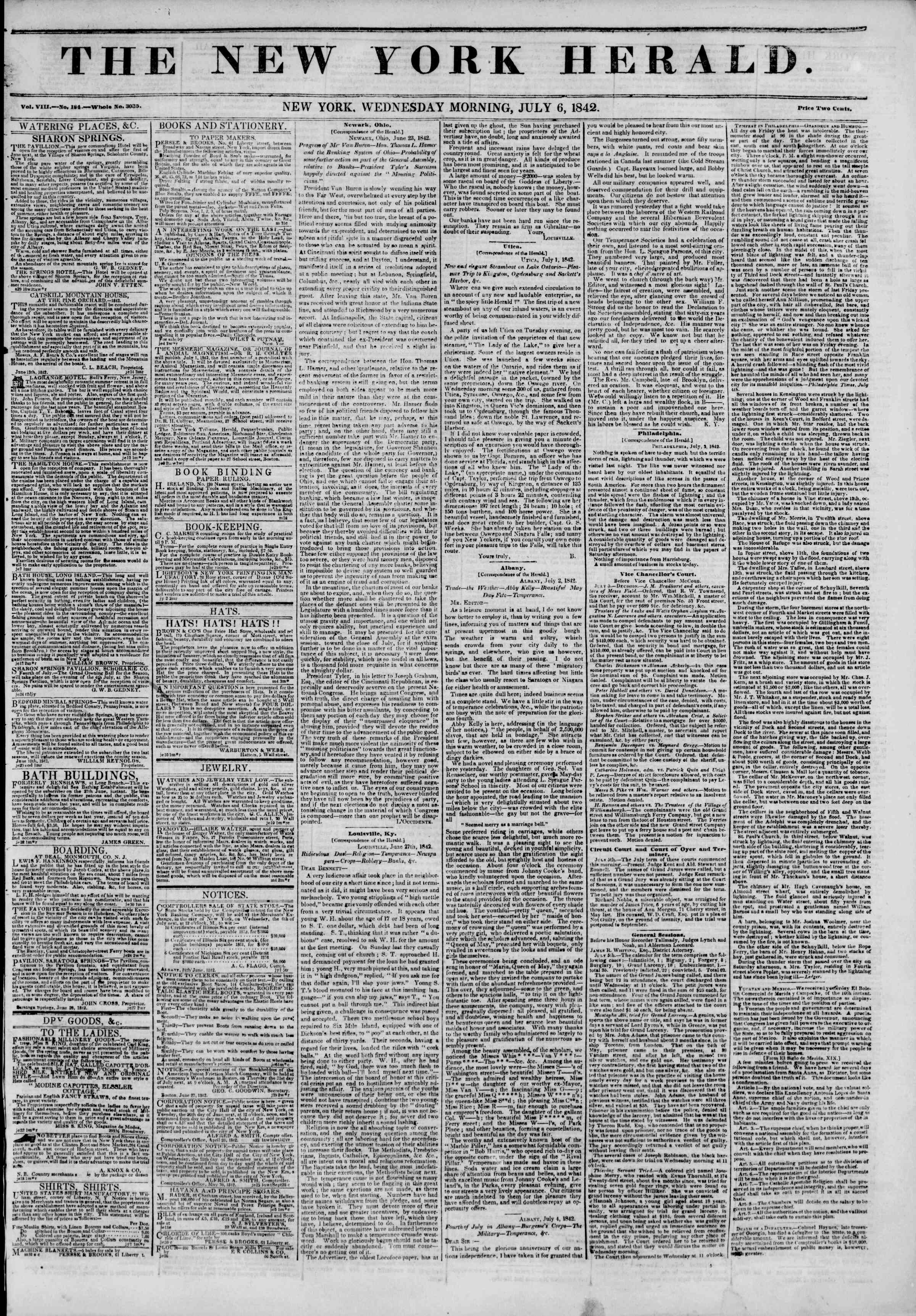 Newspaper of The New York Herald dated July 6, 1842 Page 1