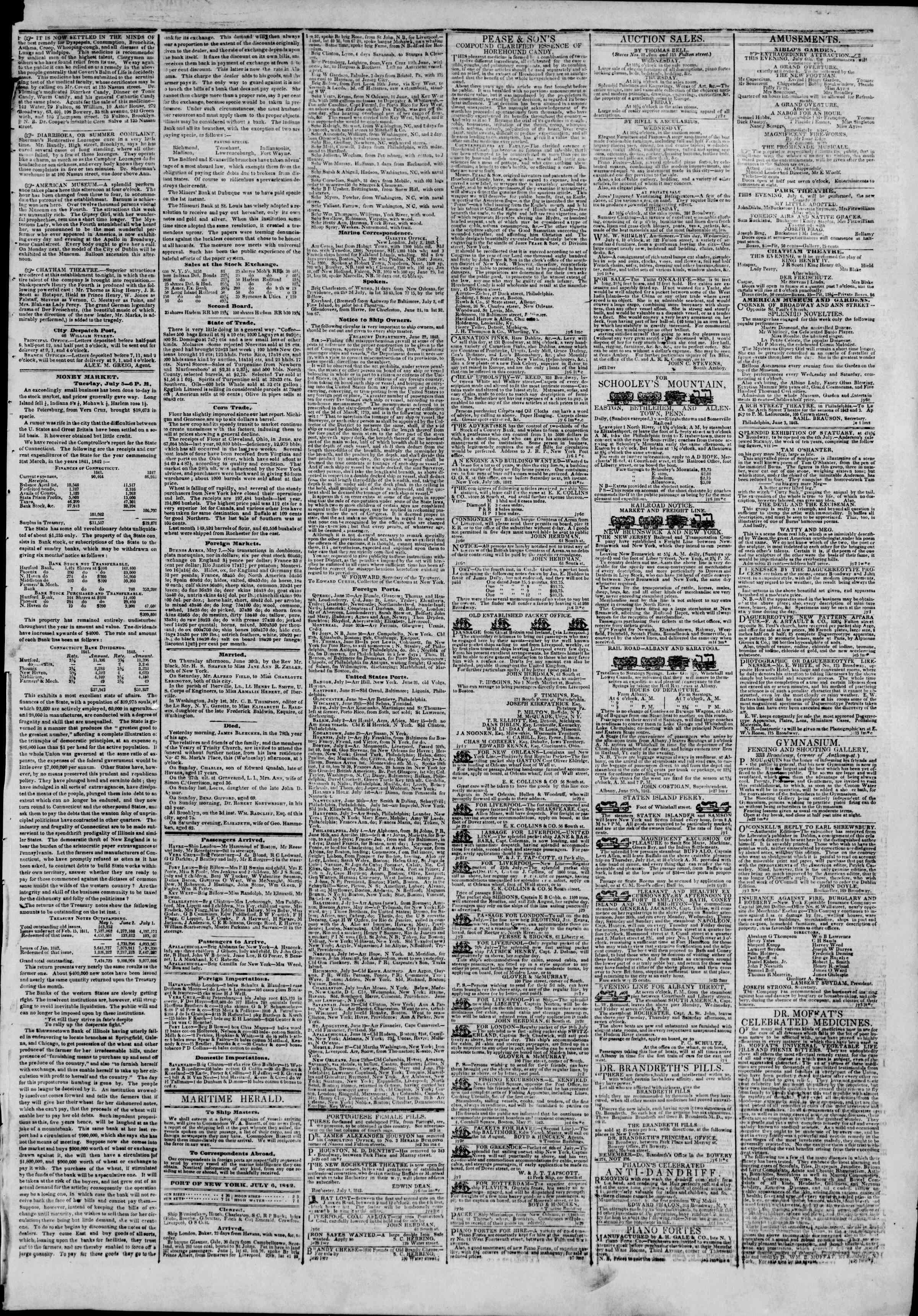 July 6, 1842 Tarihli The New York Herald Gazetesi Sayfa 3