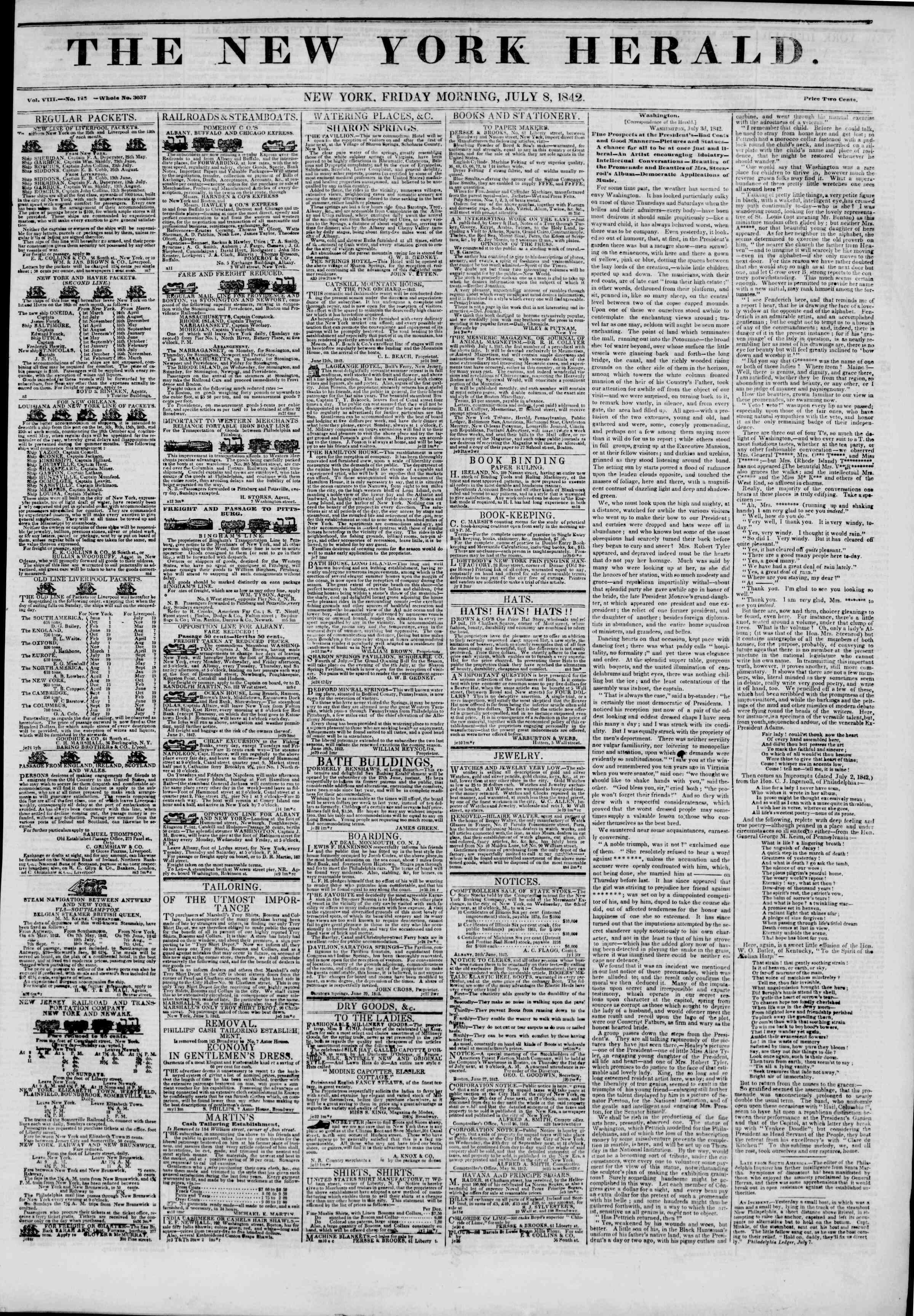 July 8, 1842 Tarihli The New York Herald Gazetesi Sayfa 1