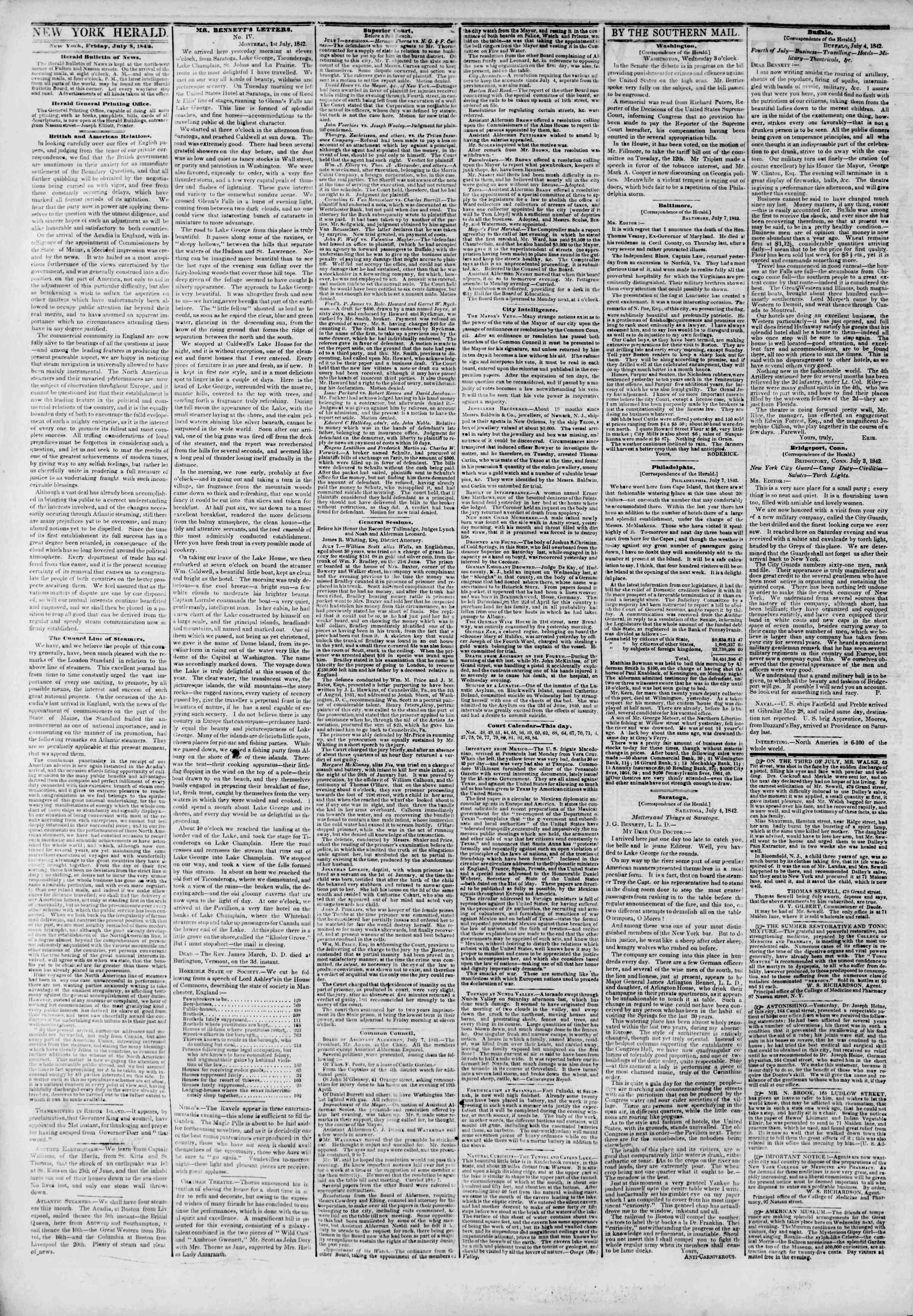 Newspaper of The New York Herald dated July 8, 1842 Page 2