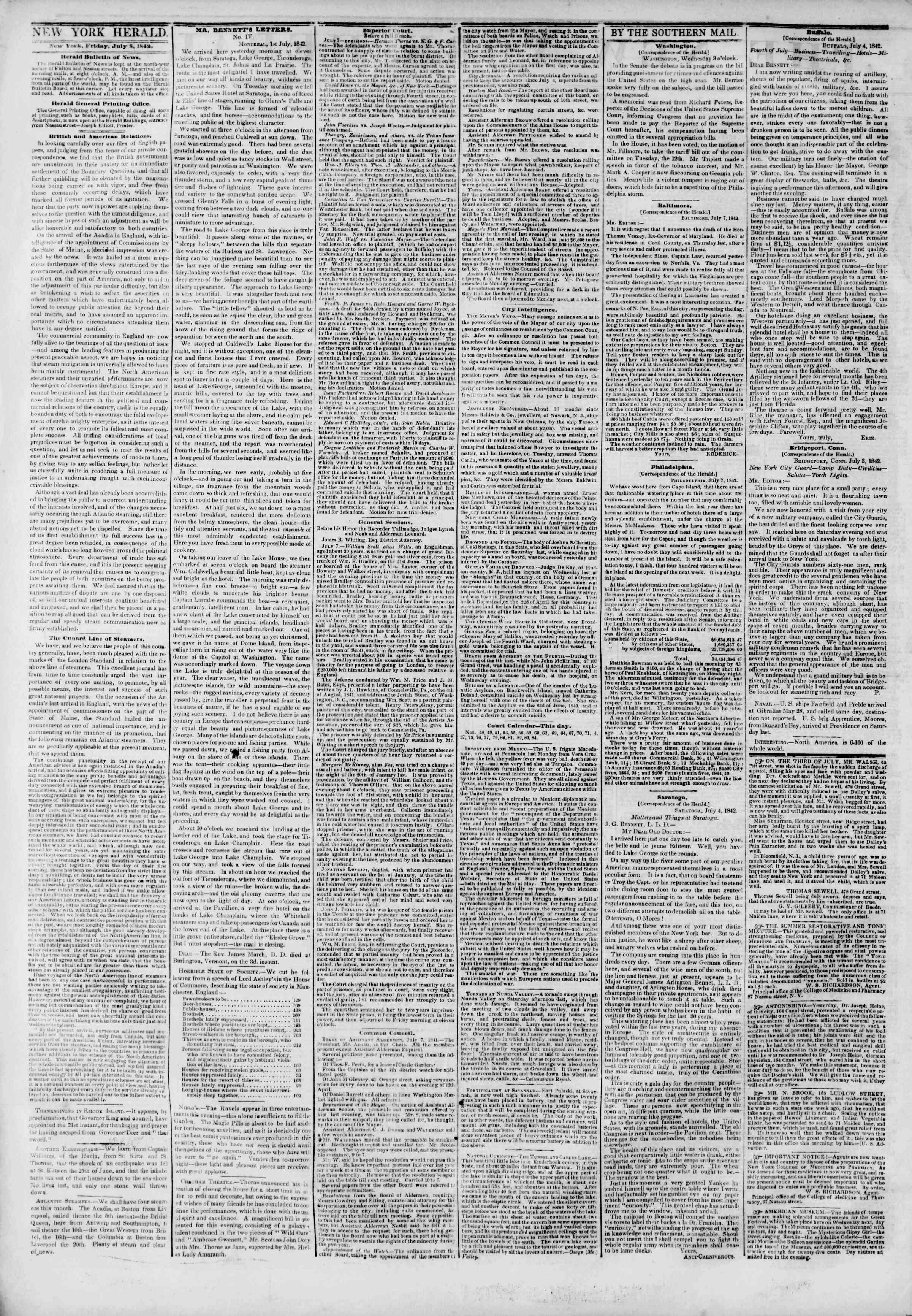 July 8, 1842 Tarihli The New York Herald Gazetesi Sayfa 2