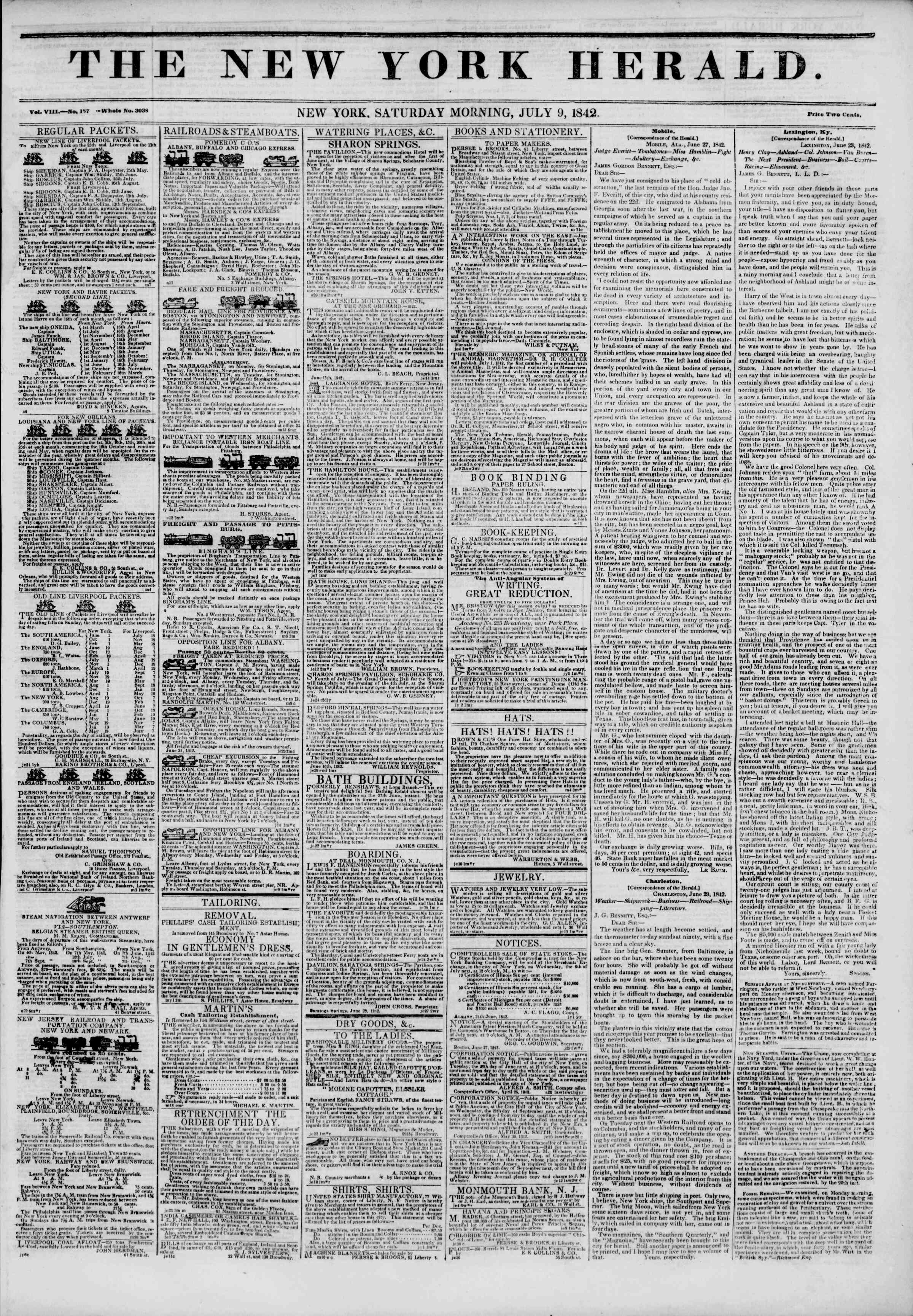Newspaper of The New York Herald dated July 9, 1842 Page 1