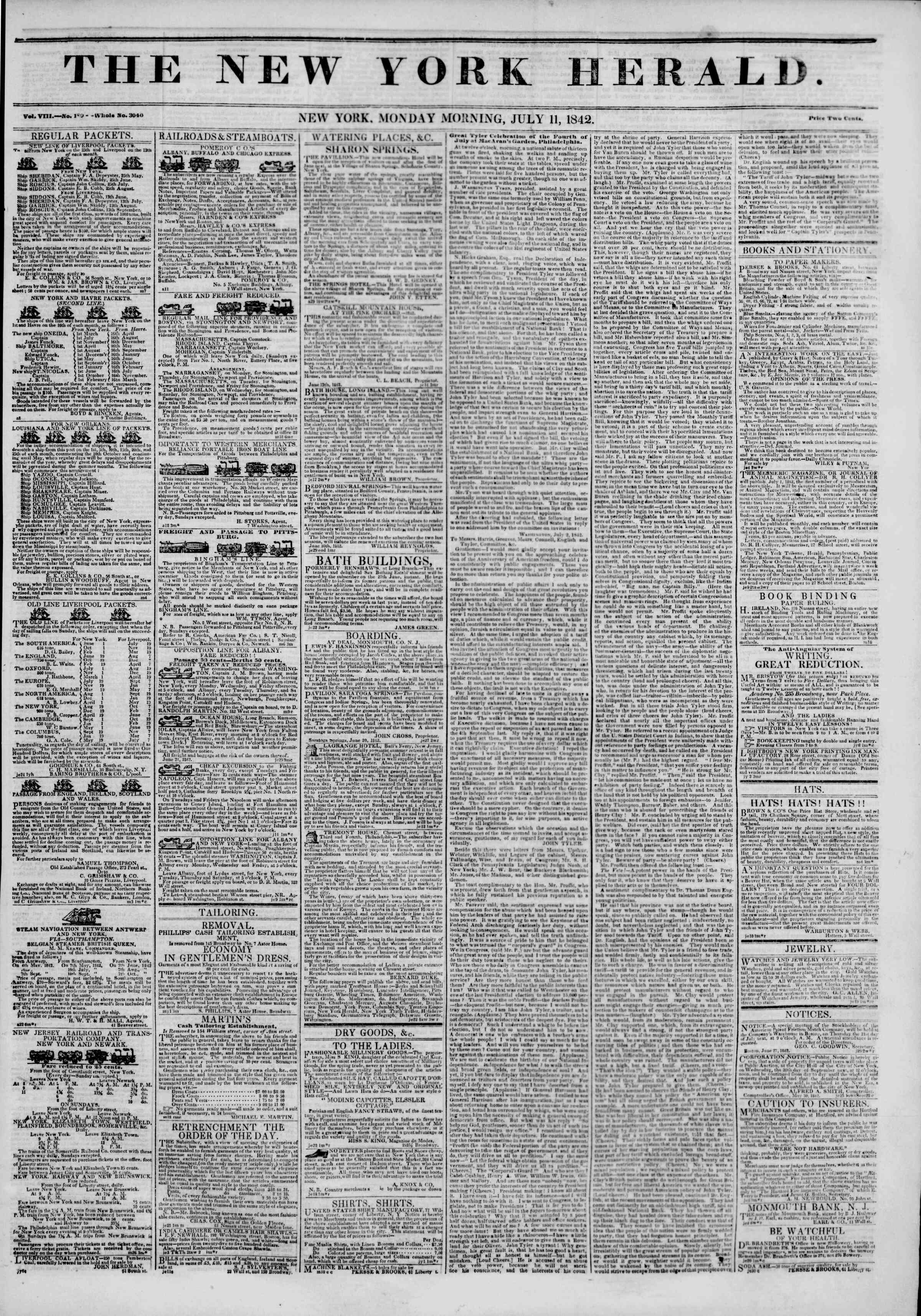 Newspaper of The New York Herald dated July 11, 1842 Page 1