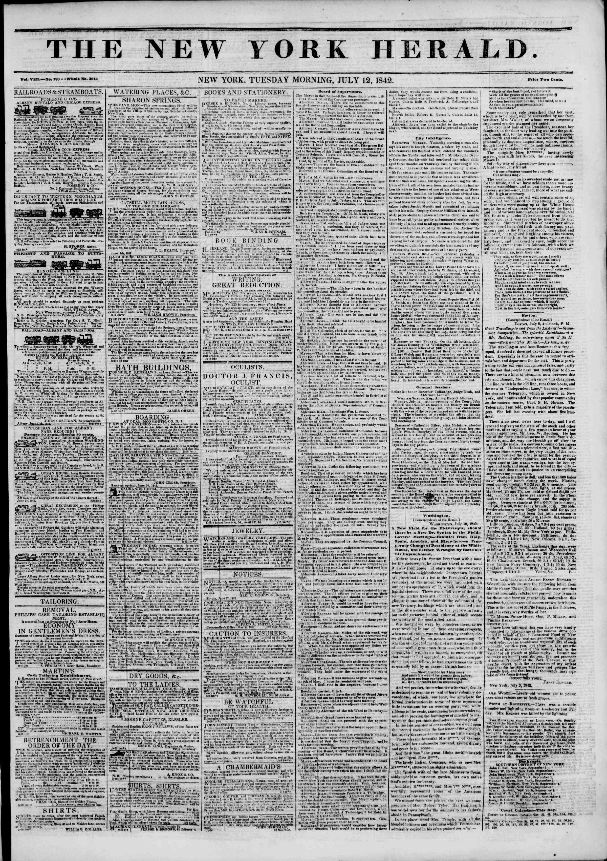 12 Temmuz 1842 Tarihli The New York Herald Gazetesi Sayfa 1