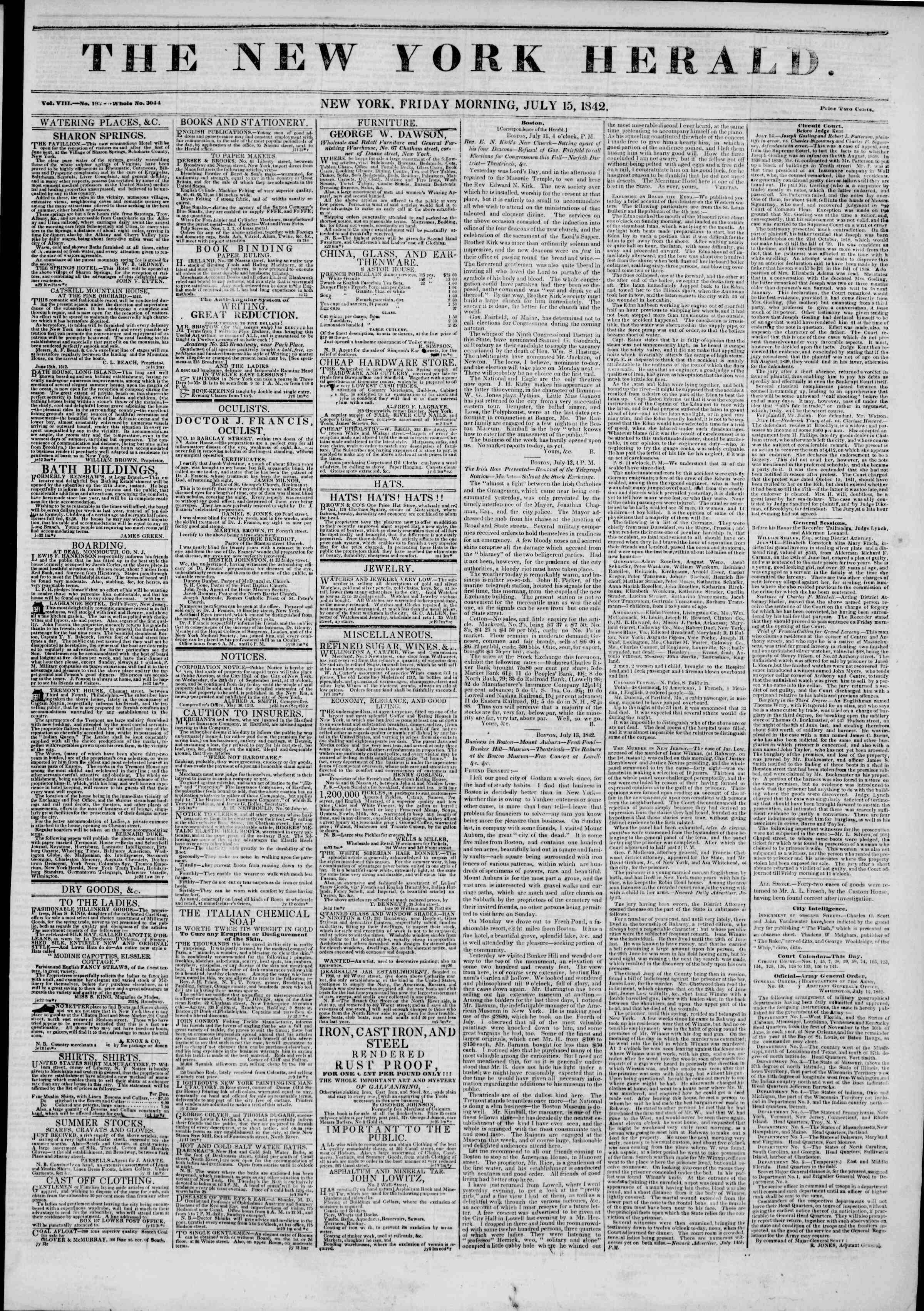 Newspaper of The New York Herald dated July 15, 1842 Page 1