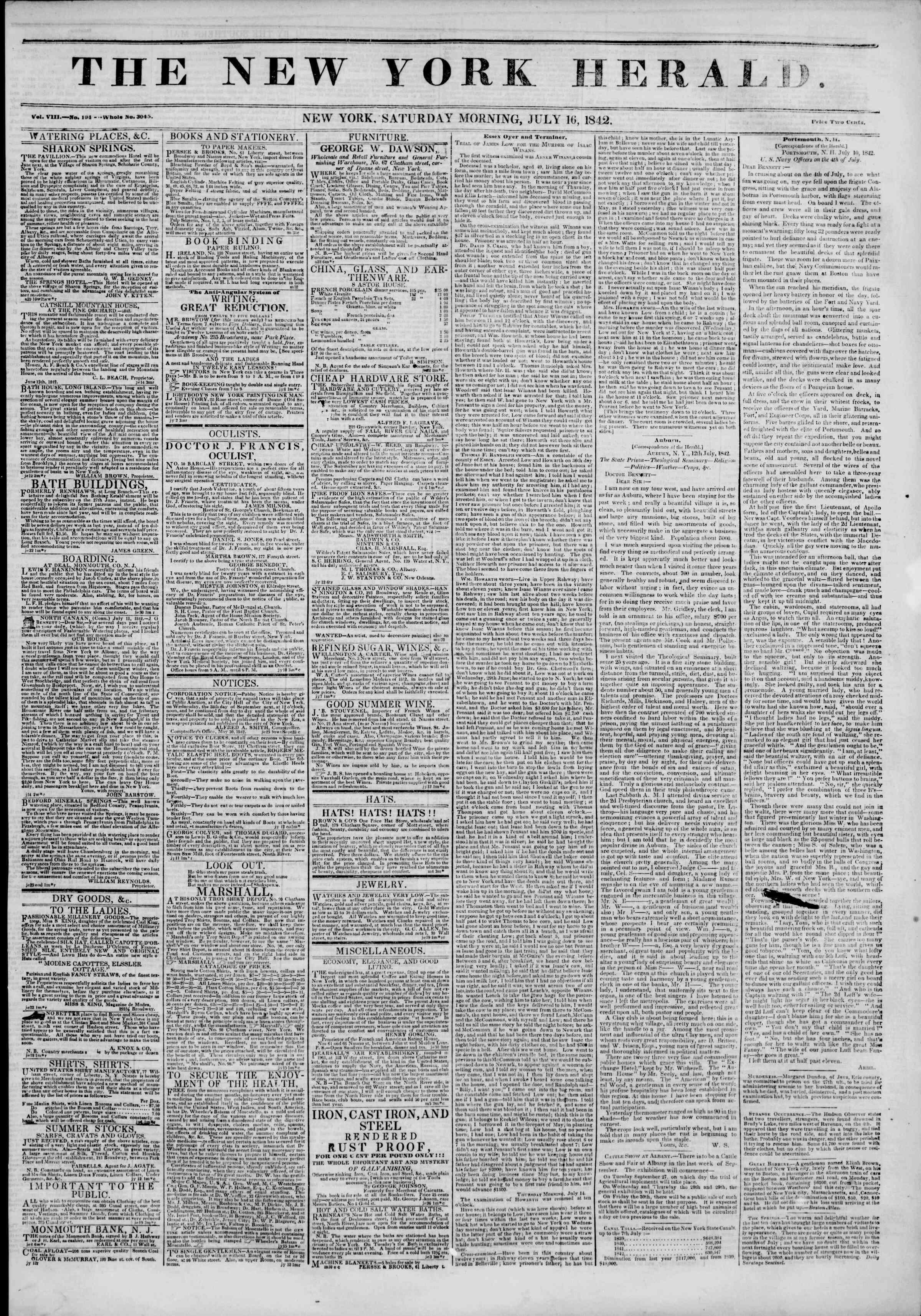 July 16, 1842 Tarihli The New York Herald Gazetesi Sayfa 1