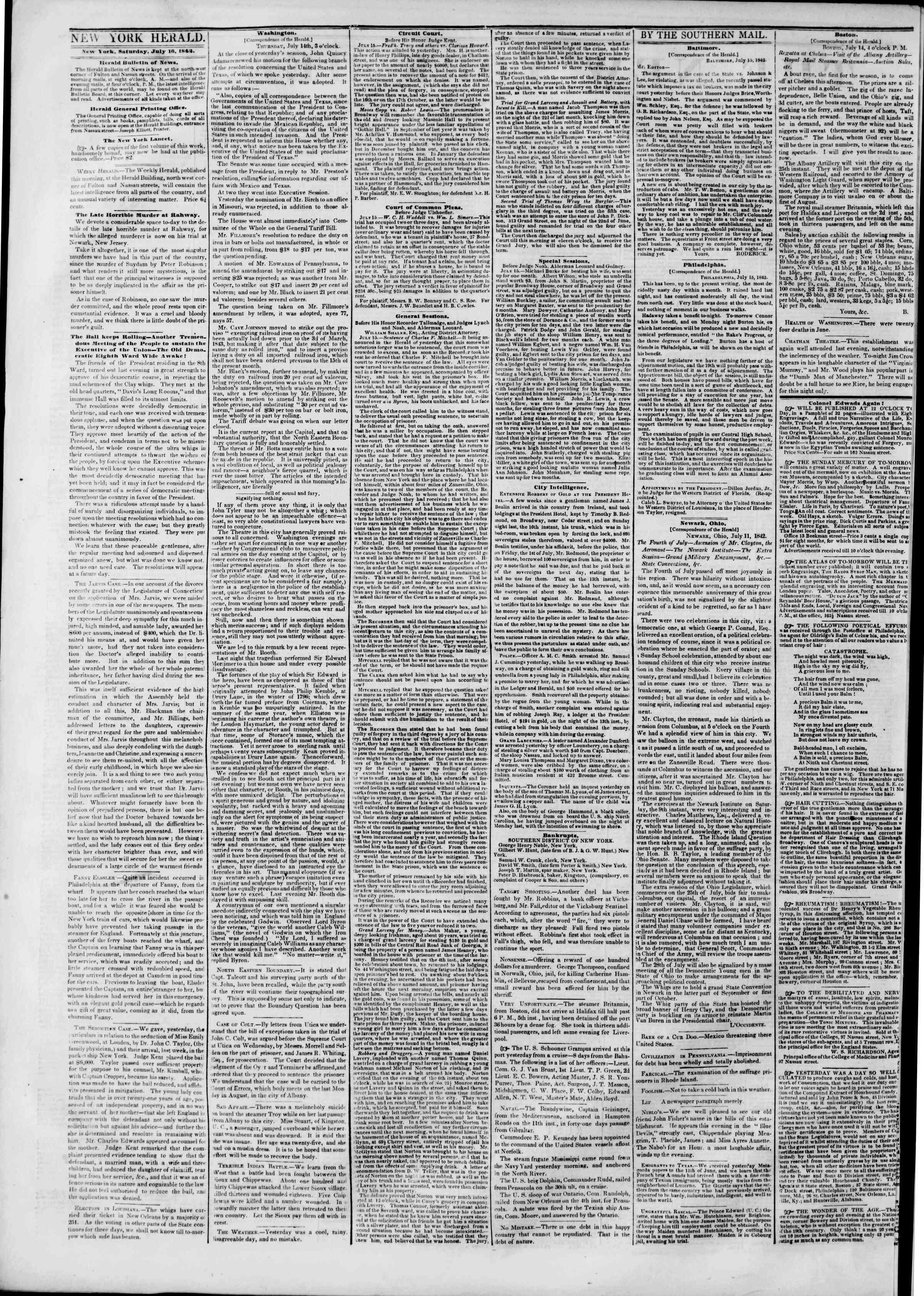 July 16, 1842 Tarihli The New York Herald Gazetesi Sayfa 2