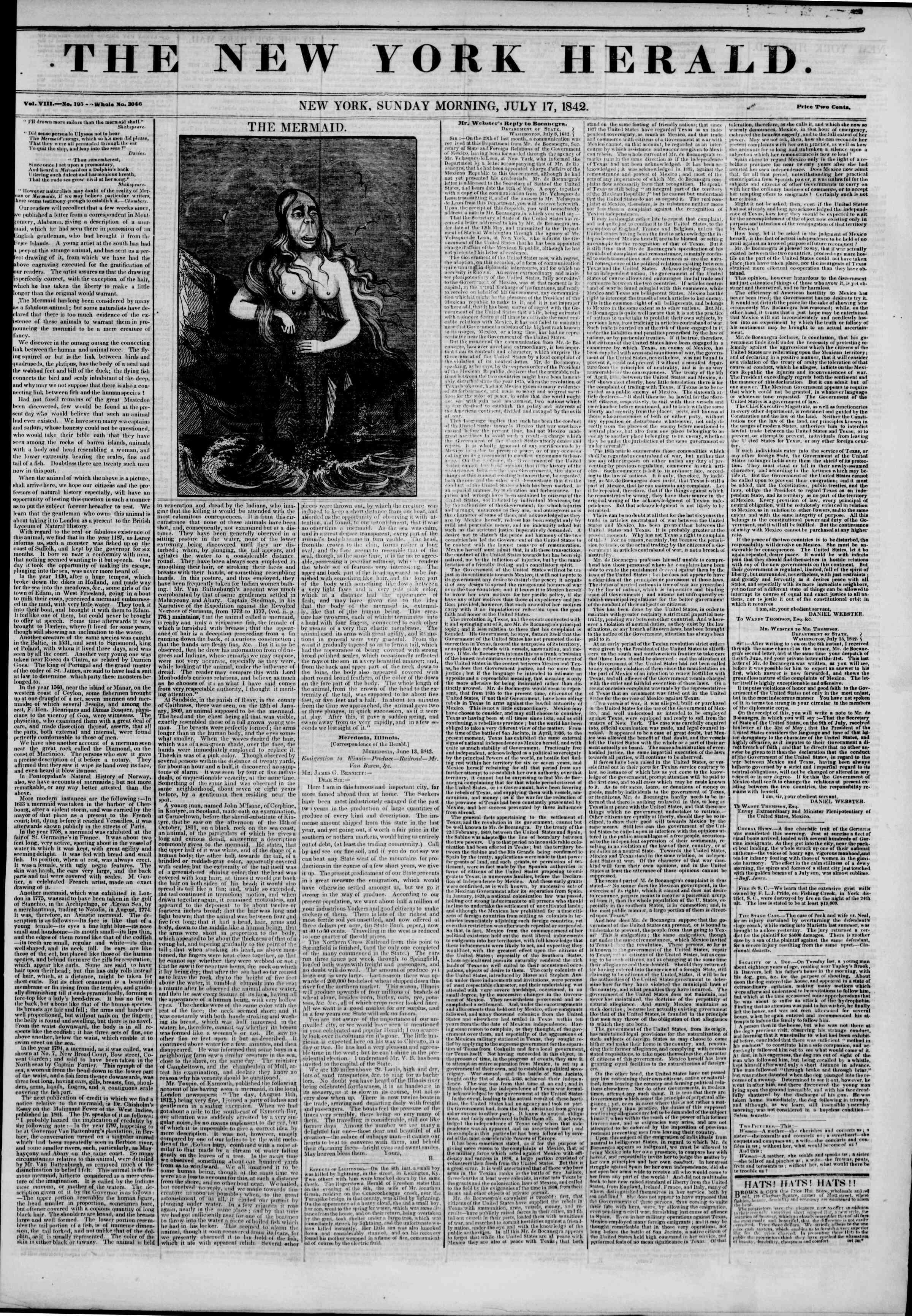 July 17, 1842 Tarihli The New York Herald Gazetesi Sayfa 1