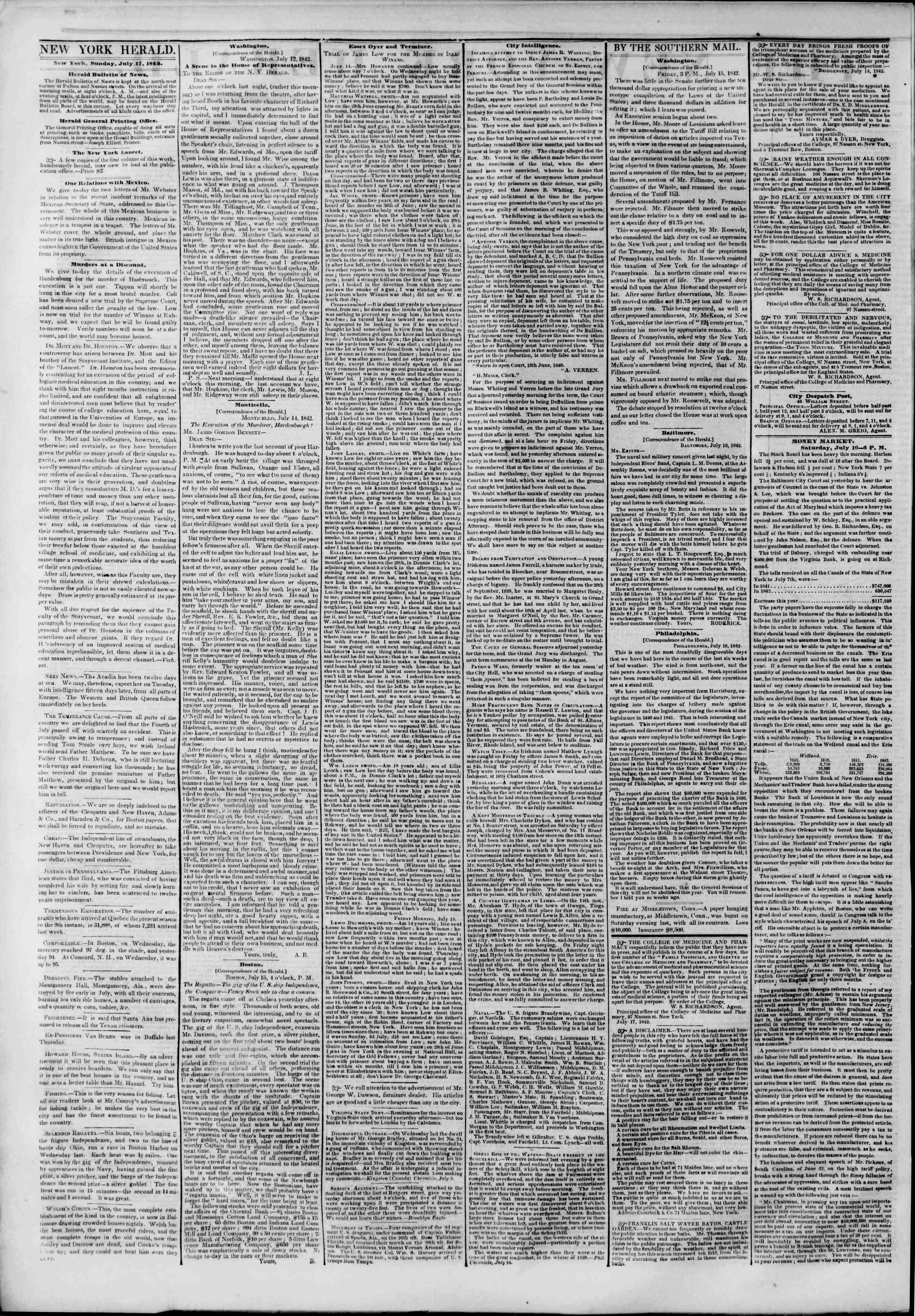 Newspaper of The New York Herald dated July 17, 1842 Page 2