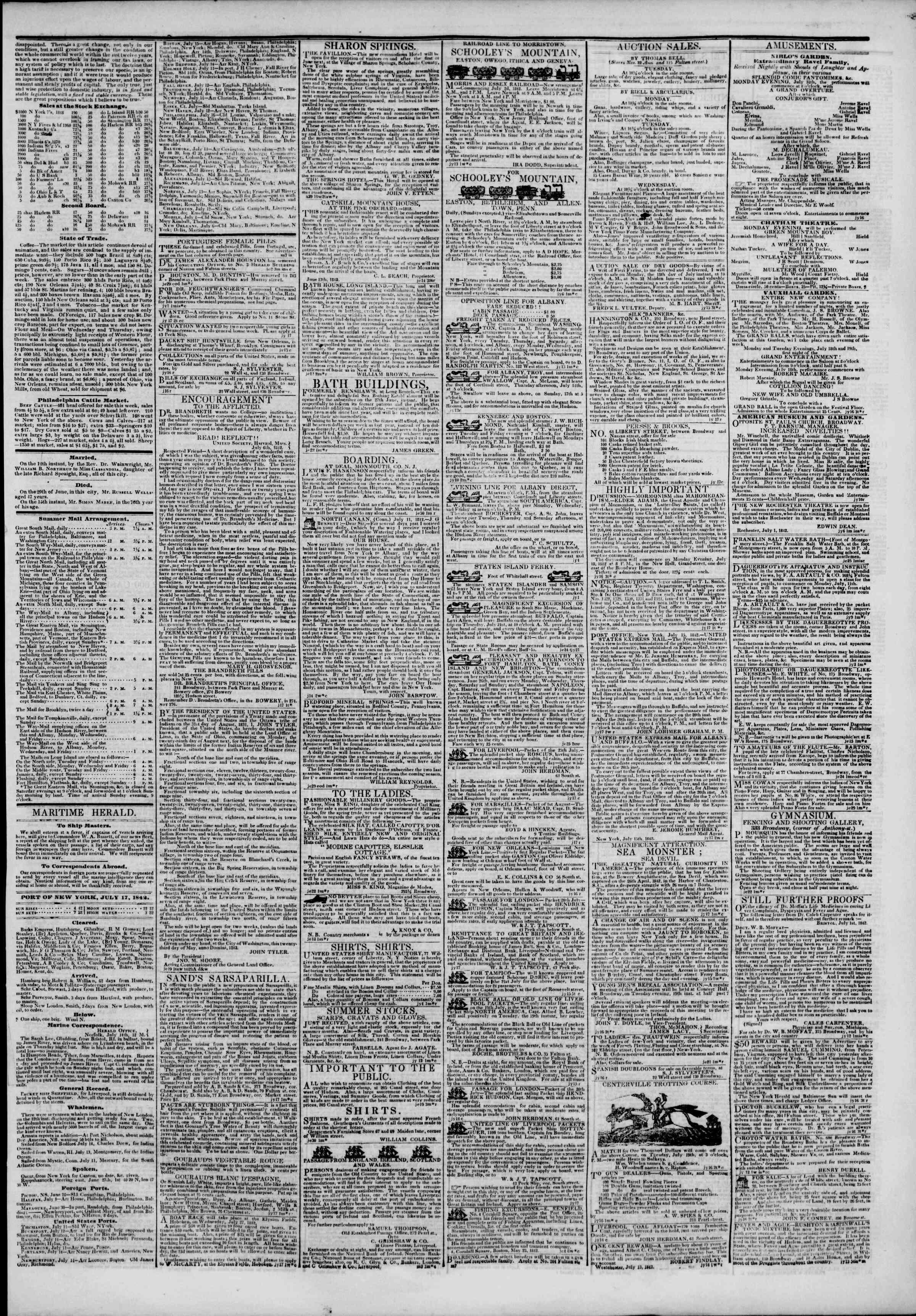17 Temmuz 1842 Tarihli The New York Herald Gazetesi Sayfa 3