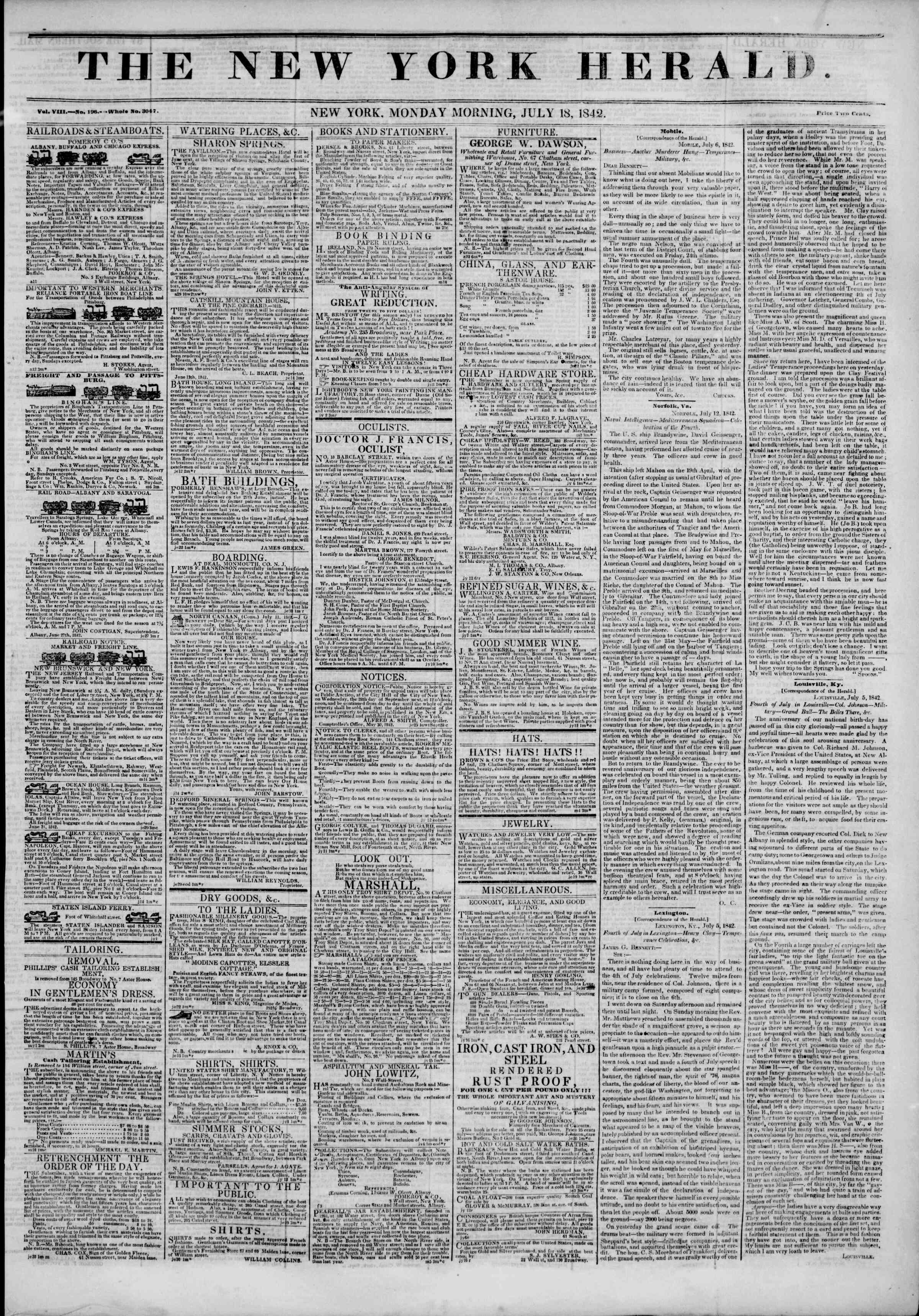 18 Temmuz 1842 Tarihli The New York Herald Gazetesi Sayfa 1