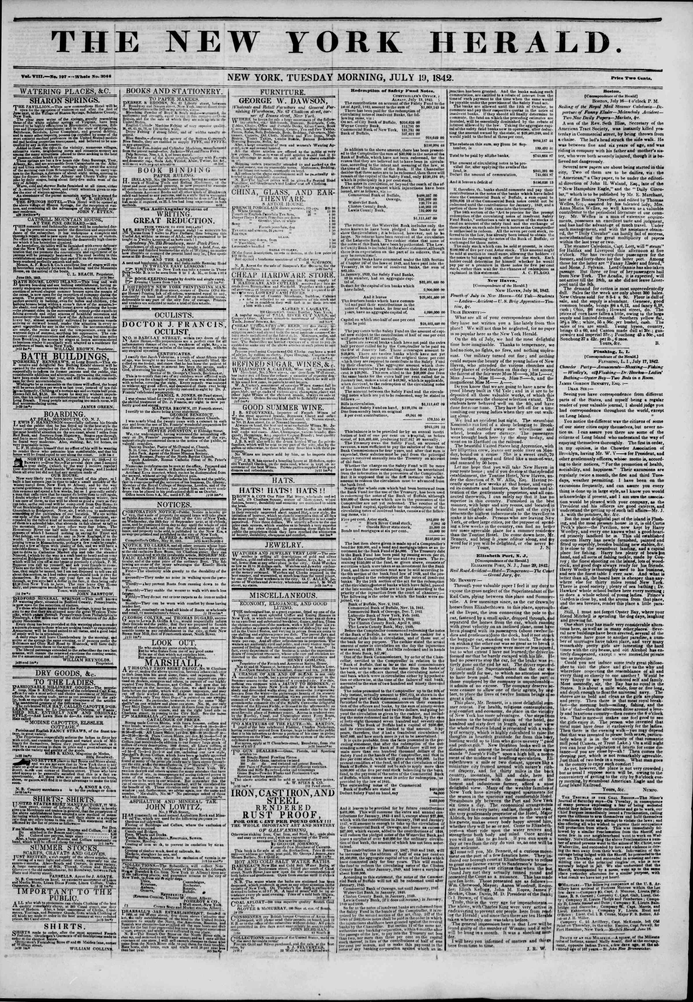 Newspaper of The New York Herald dated July 19, 1842 Page 1