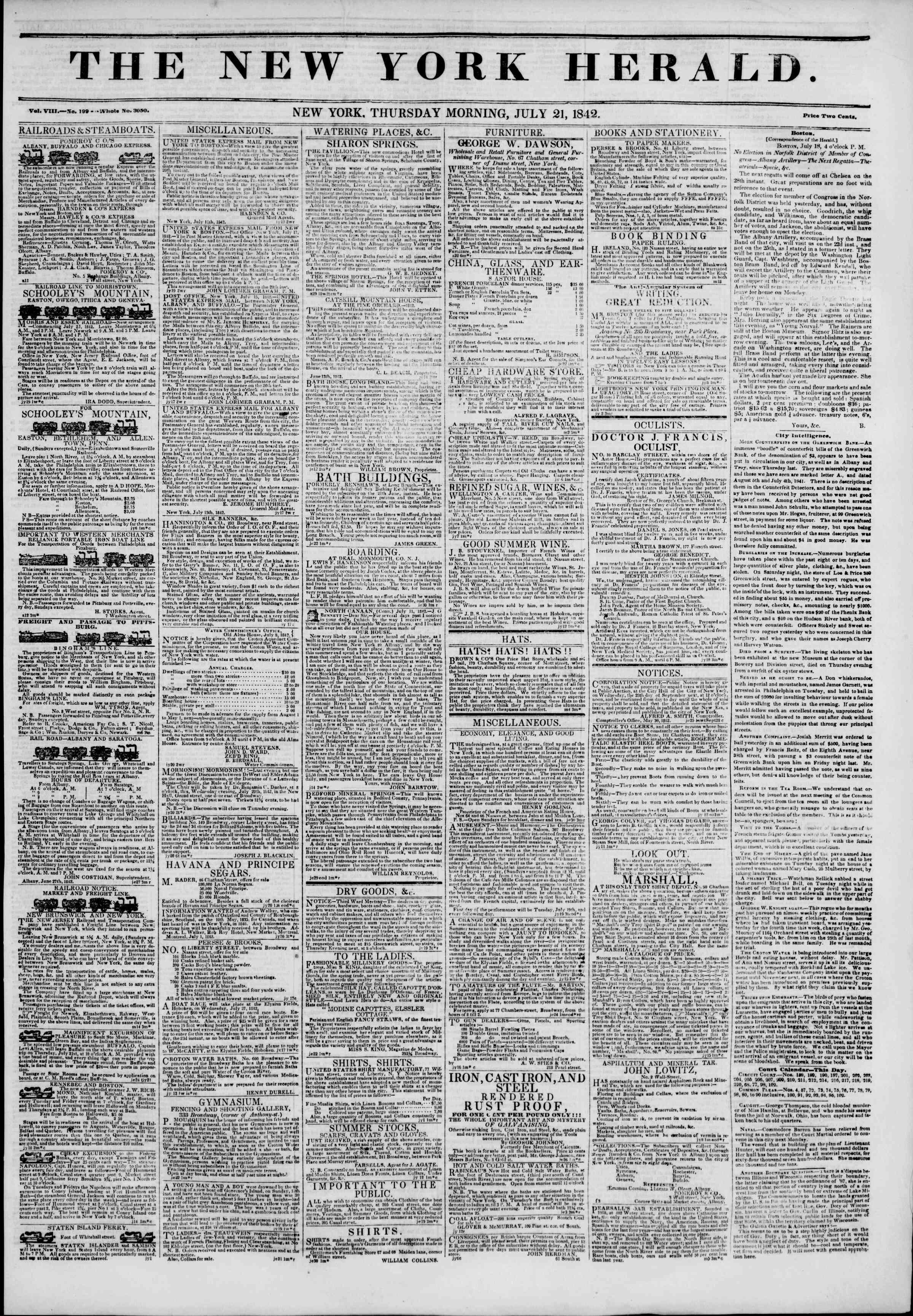 21 Temmuz 1842 Tarihli The New York Herald Gazetesi Sayfa 1