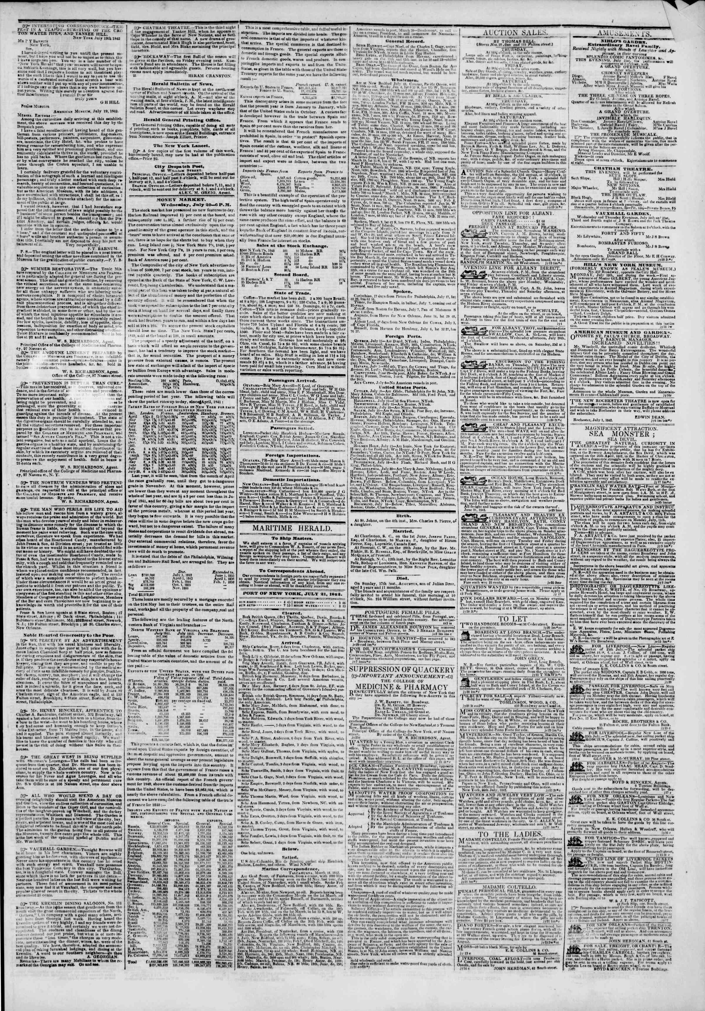 July 21, 1842 Tarihli The New York Herald Gazetesi Sayfa 3