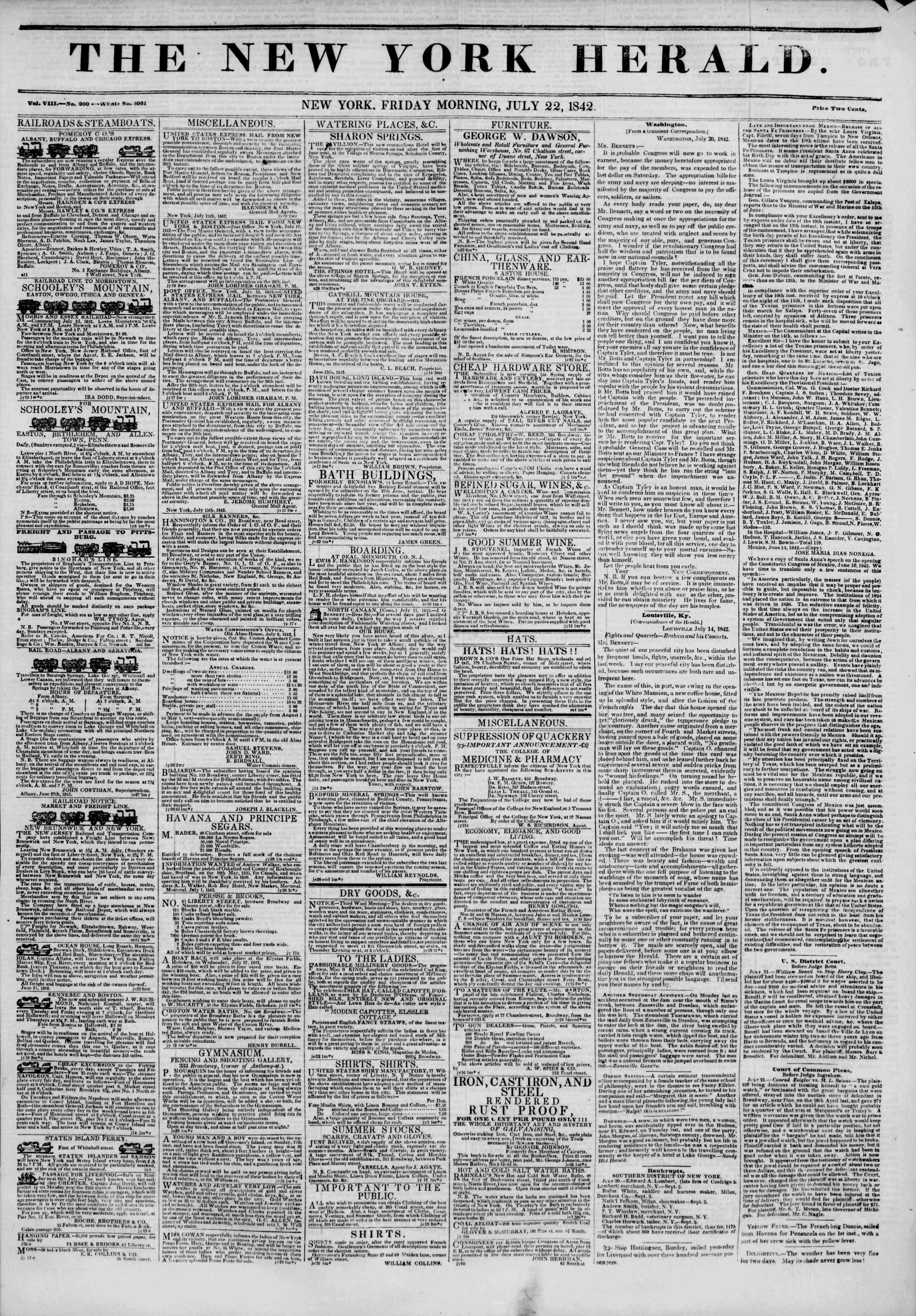 July 22, 1842 Tarihli The New York Herald Gazetesi Sayfa 1