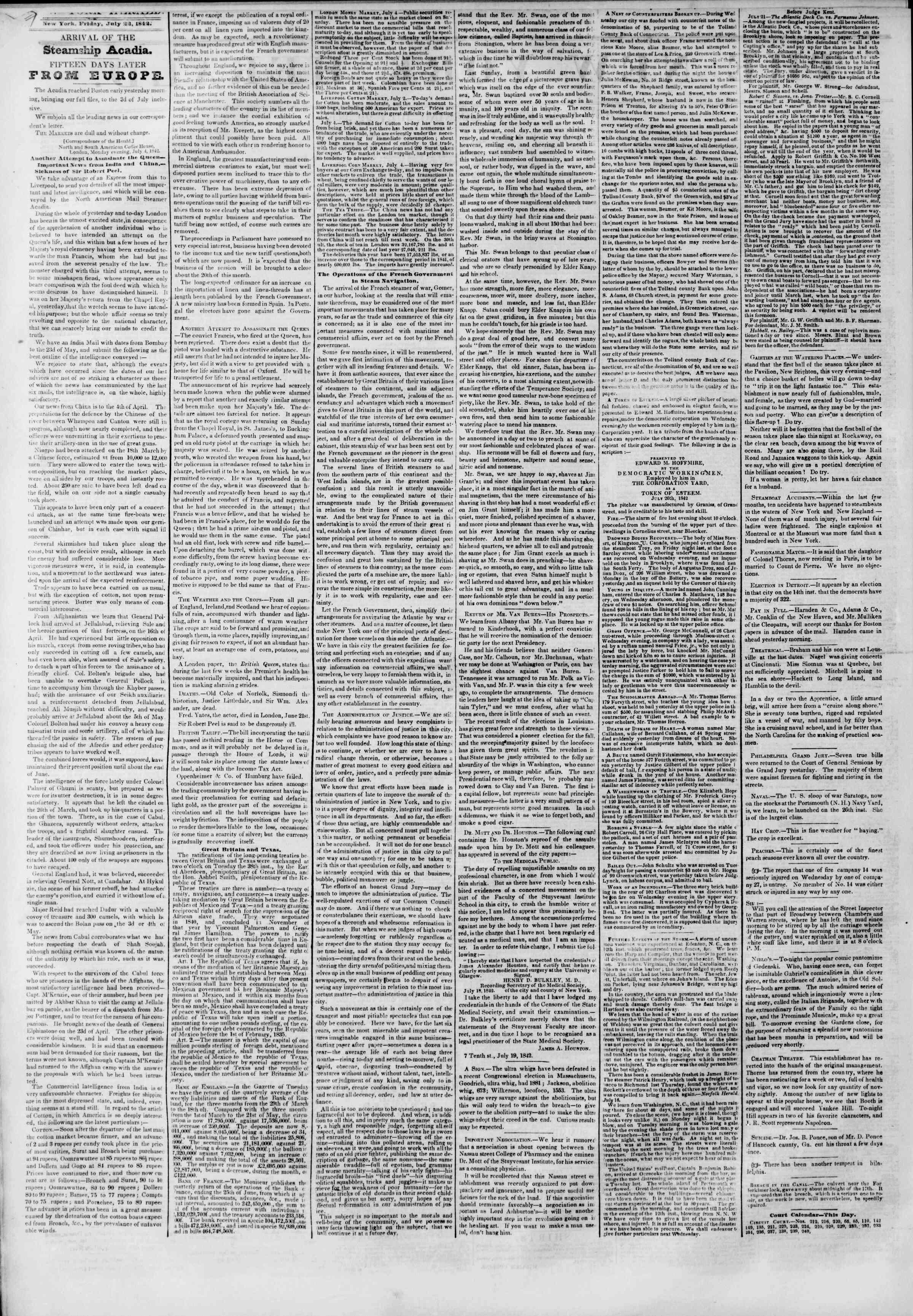 July 22, 1842 Tarihli The New York Herald Gazetesi Sayfa 2