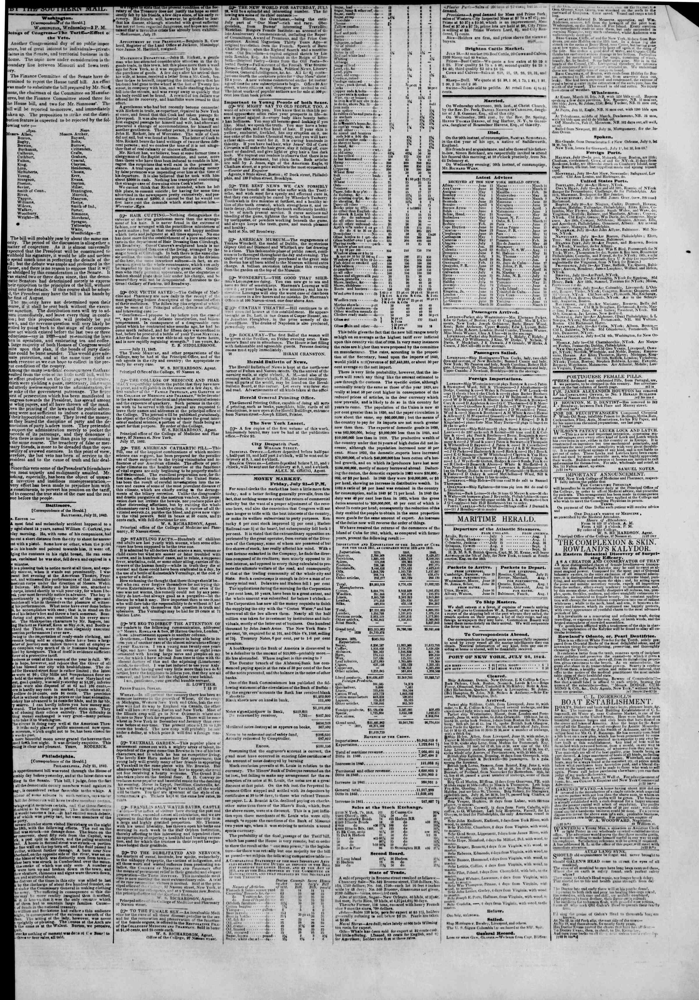 22 Temmuz 1842 tarihli The New York Herald Gazetesi Sayfa 3
