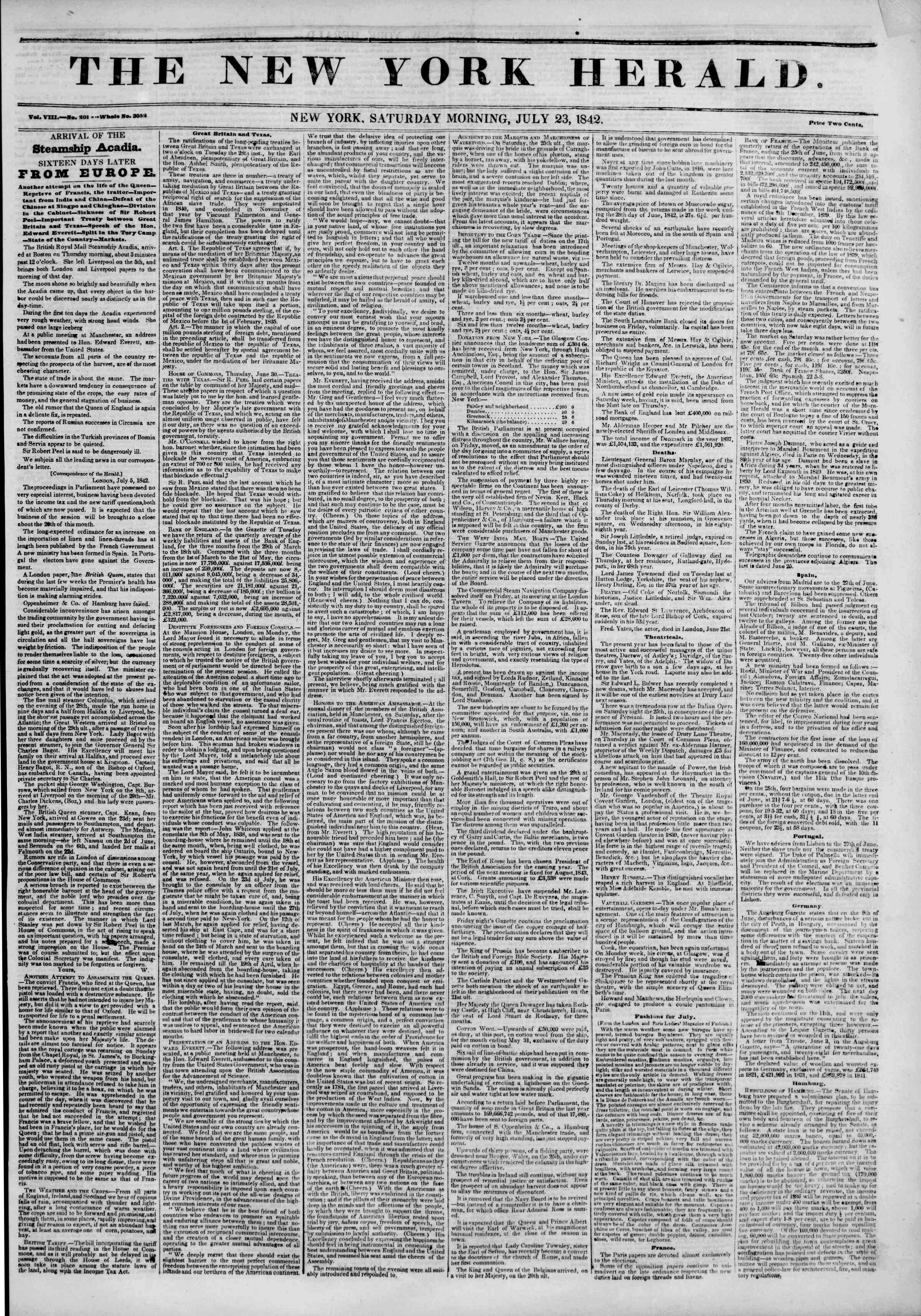 Newspaper of The New York Herald dated July 23, 1842 Page 1