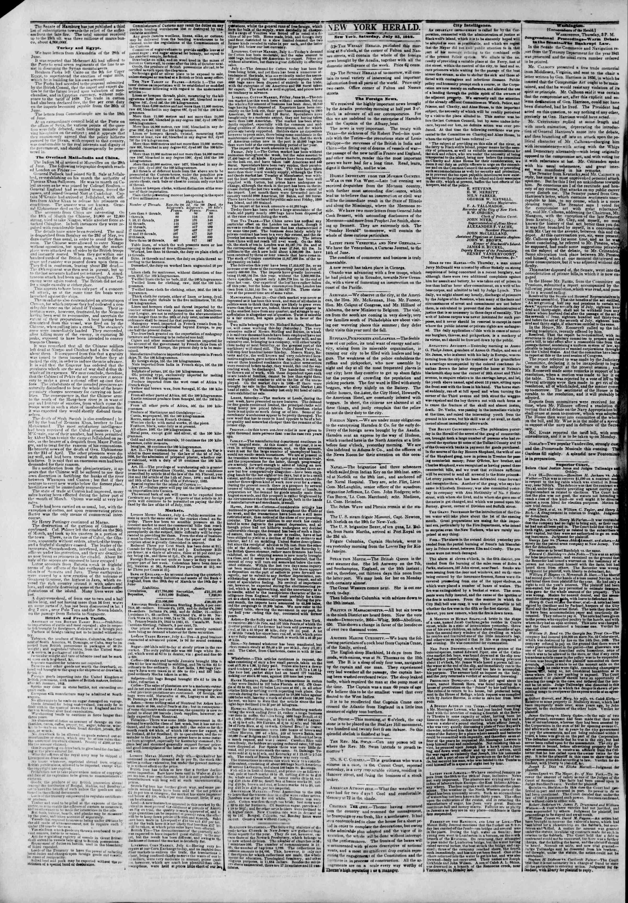 July 23, 1842 Tarihli The New York Herald Gazetesi Sayfa 2