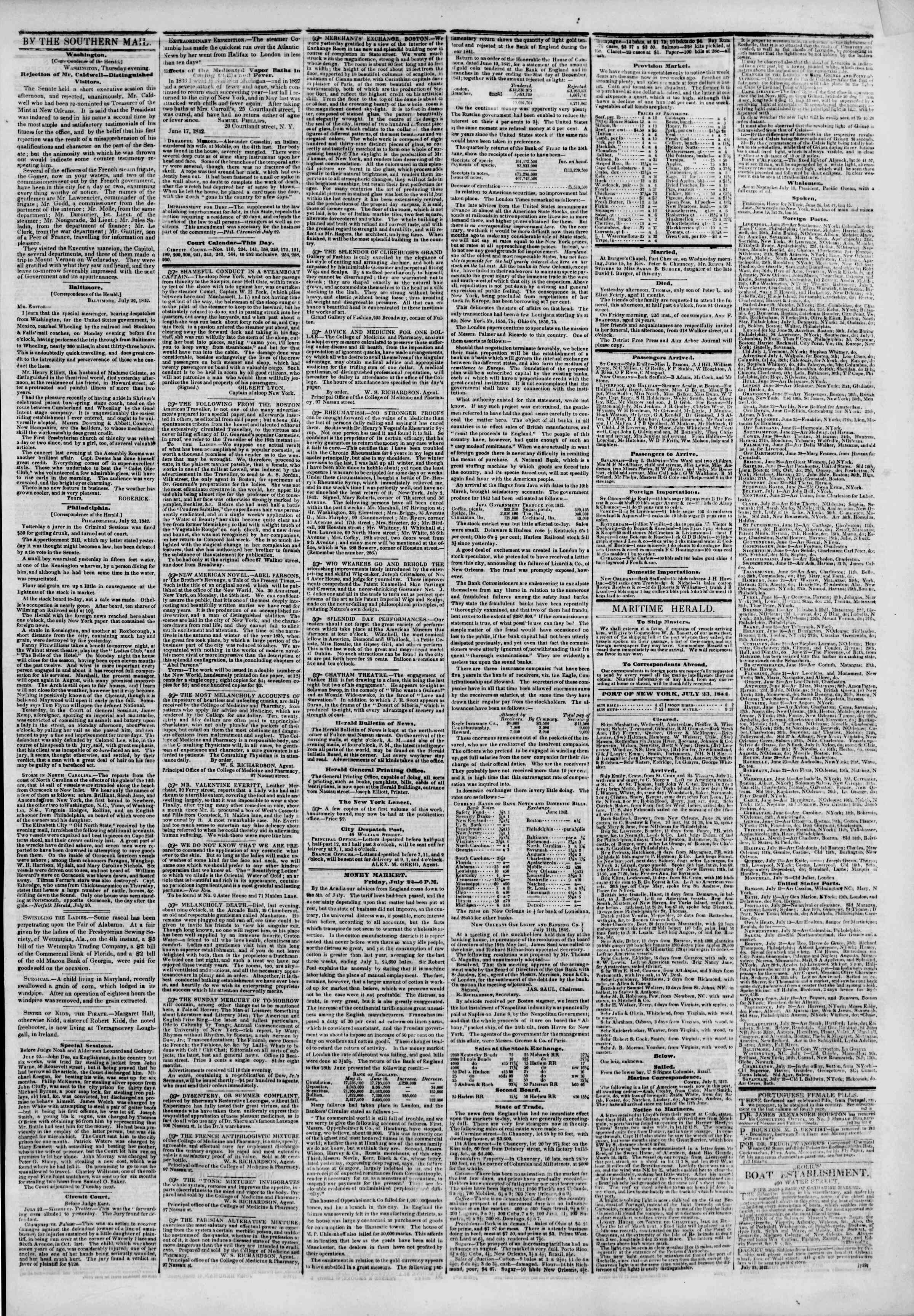 Newspaper of The New York Herald dated July 23, 1842 Page 3