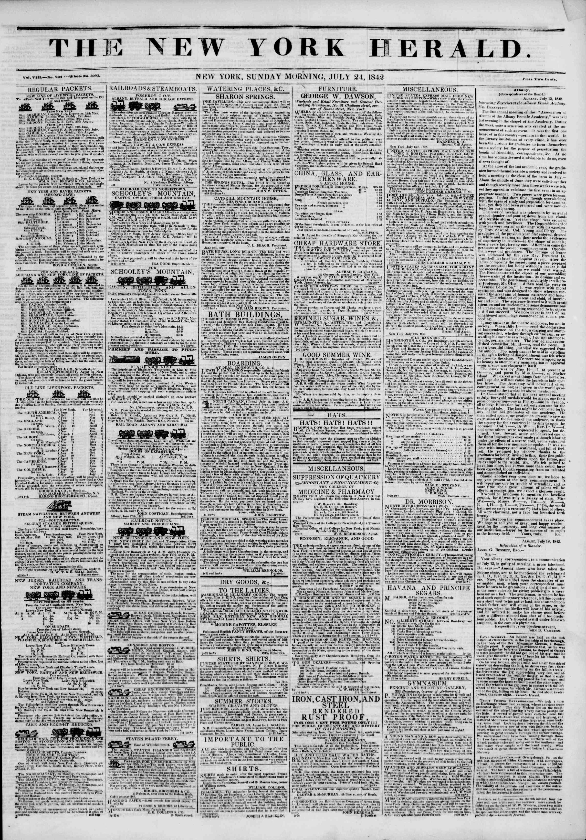 24 Temmuz 1842 tarihli The New York Herald Gazetesi Sayfa 1