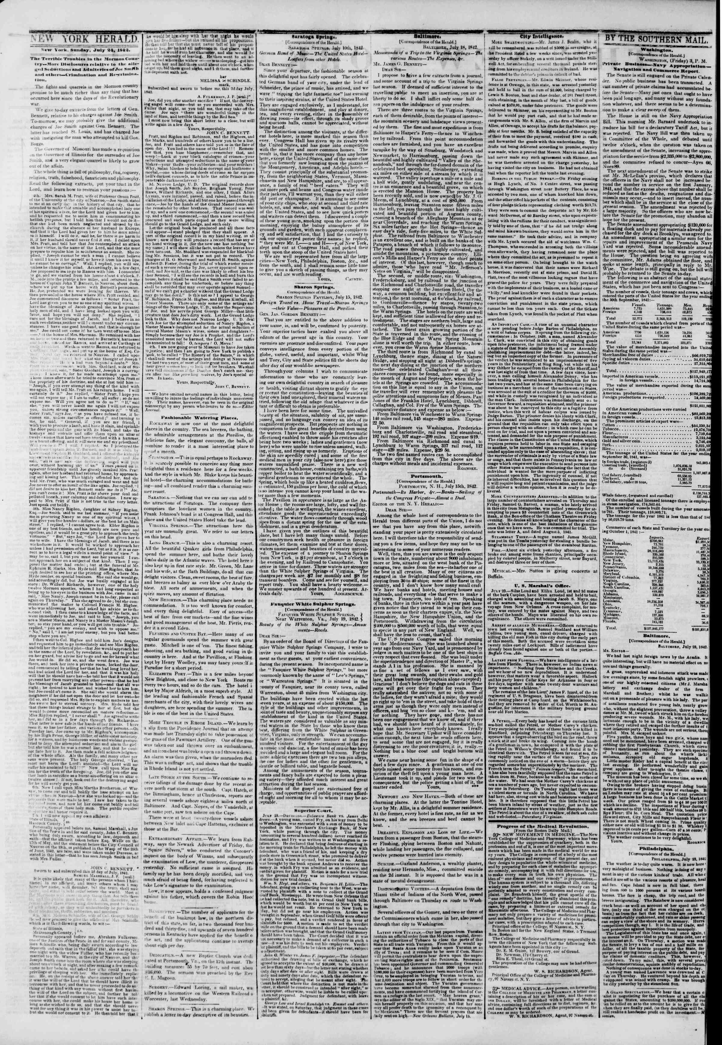 July 24, 1842 Tarihli The New York Herald Gazetesi Sayfa 2