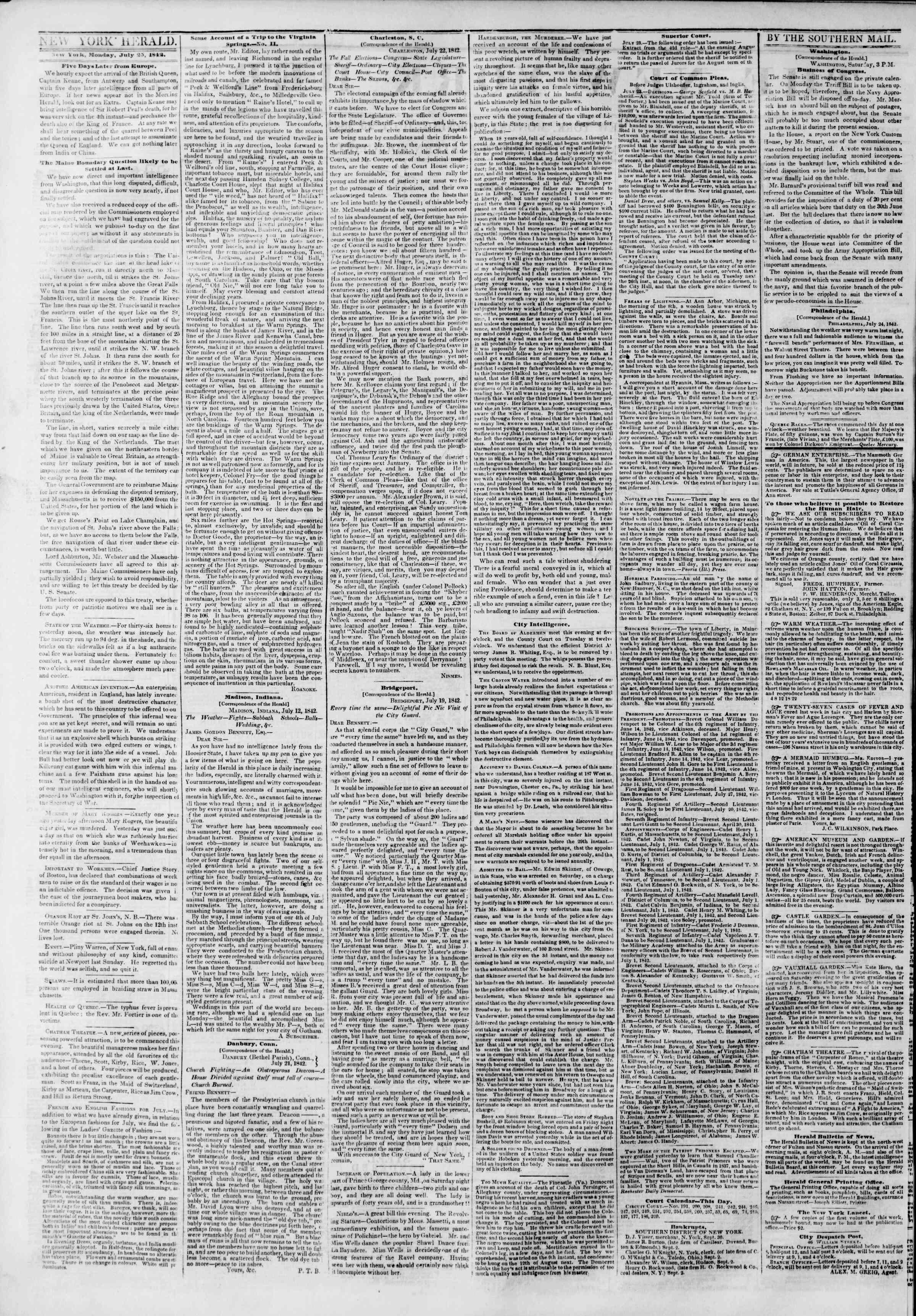 July 25, 1842 Tarihli The New York Herald Gazetesi Sayfa 2