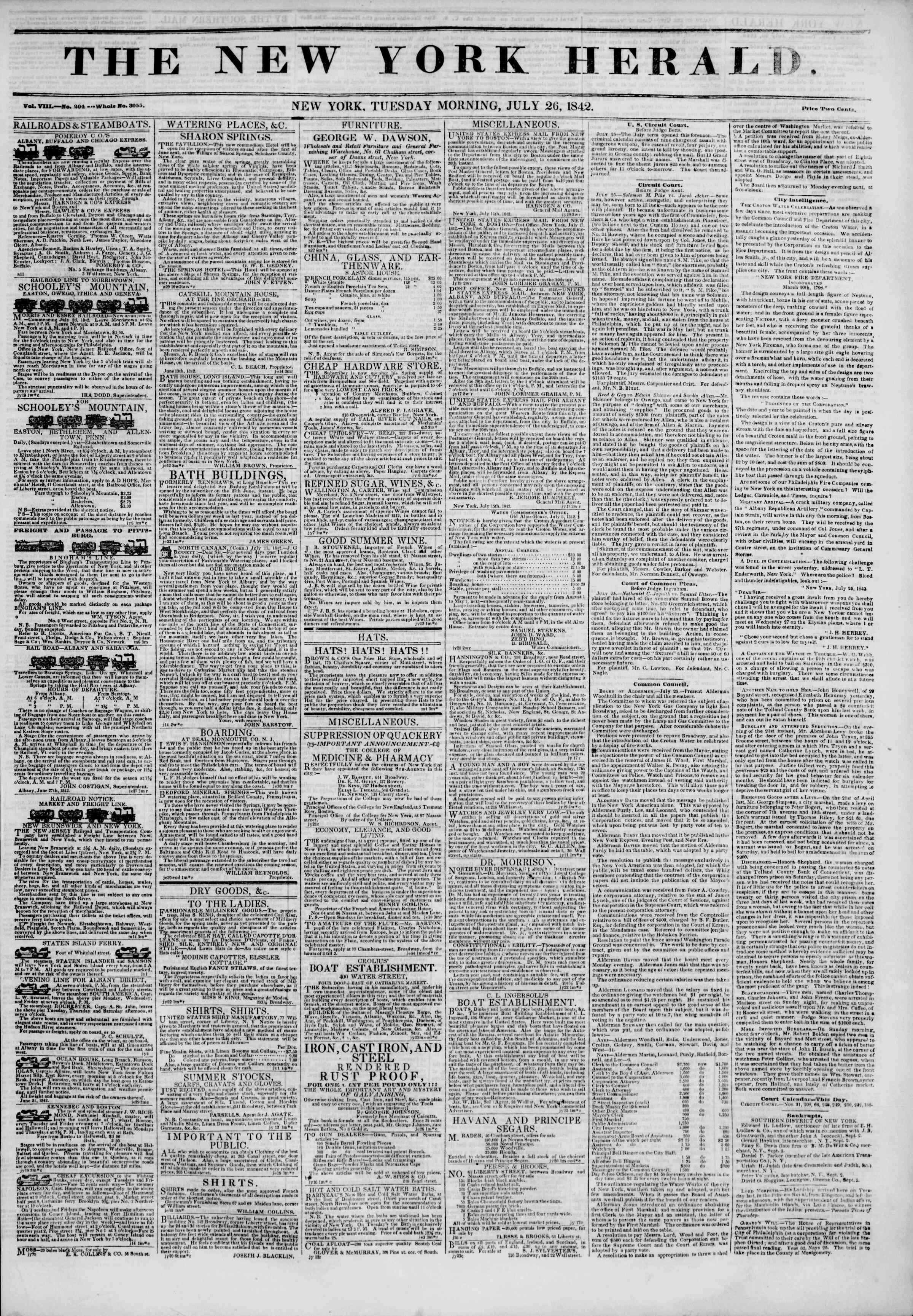 July 26, 1842 Tarihli The New York Herald Gazetesi Sayfa 1