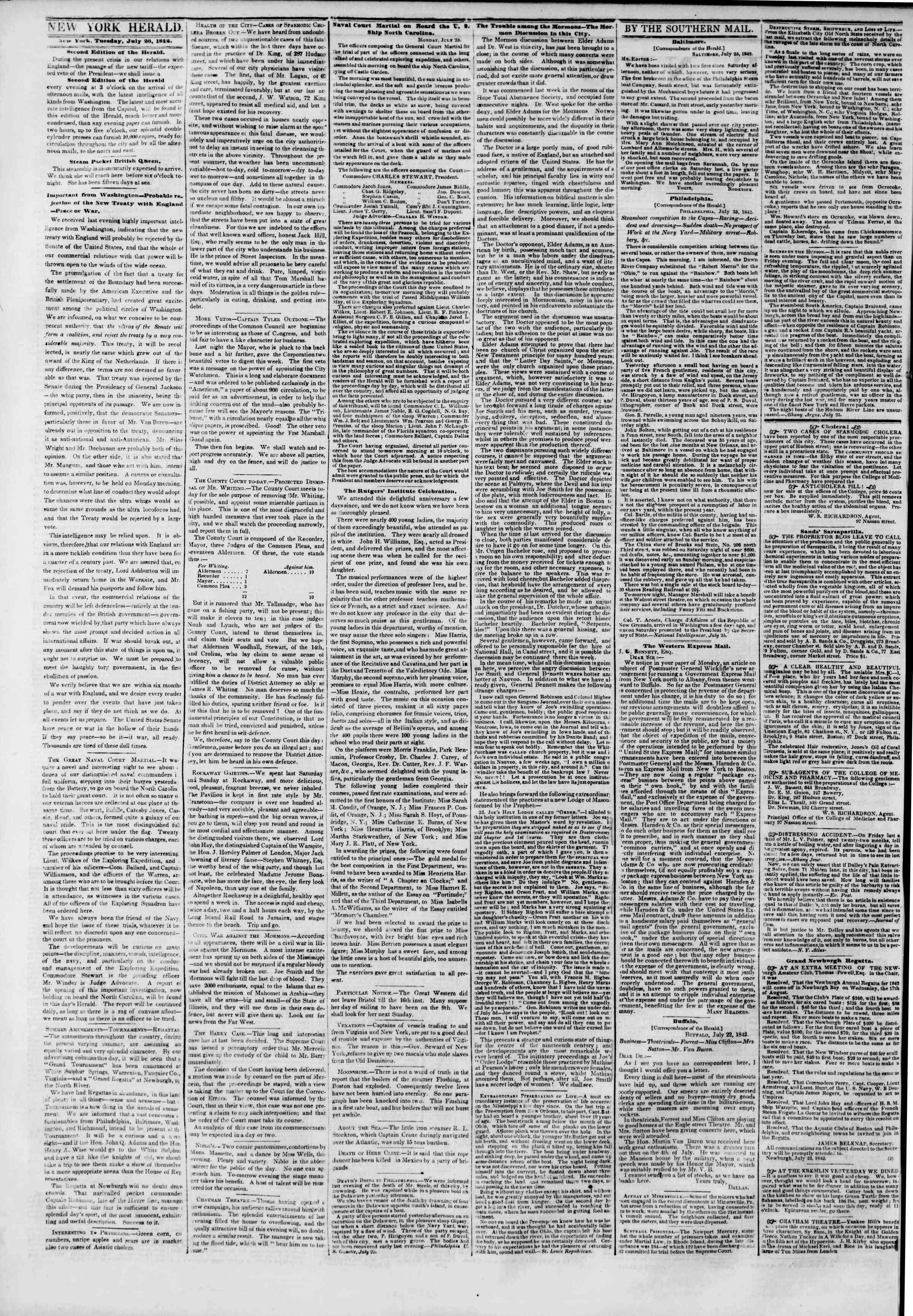 July 26, 1842 Tarihli The New York Herald Gazetesi Sayfa 2