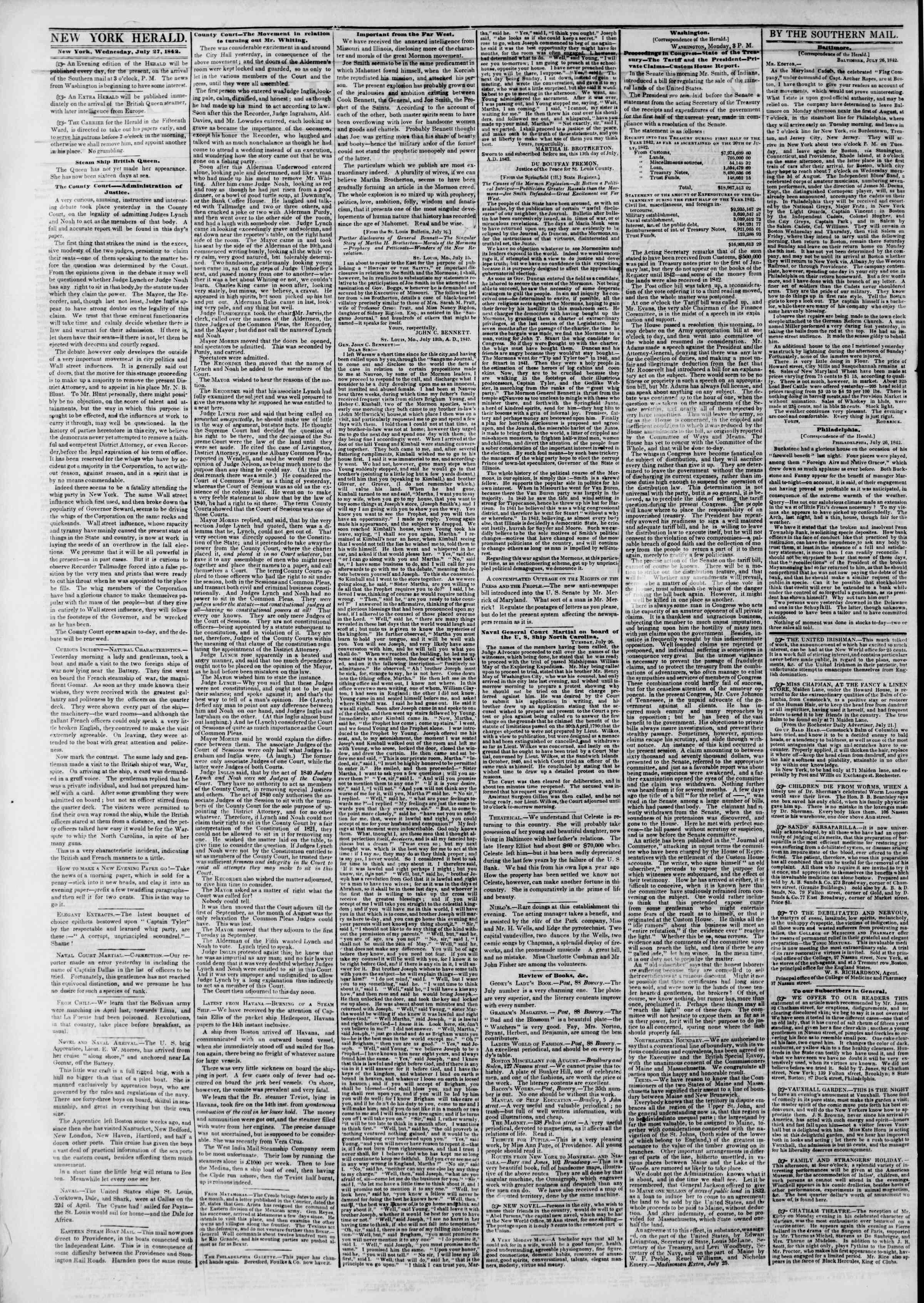 July 27, 1842 Tarihli The New York Herald Gazetesi Sayfa 2