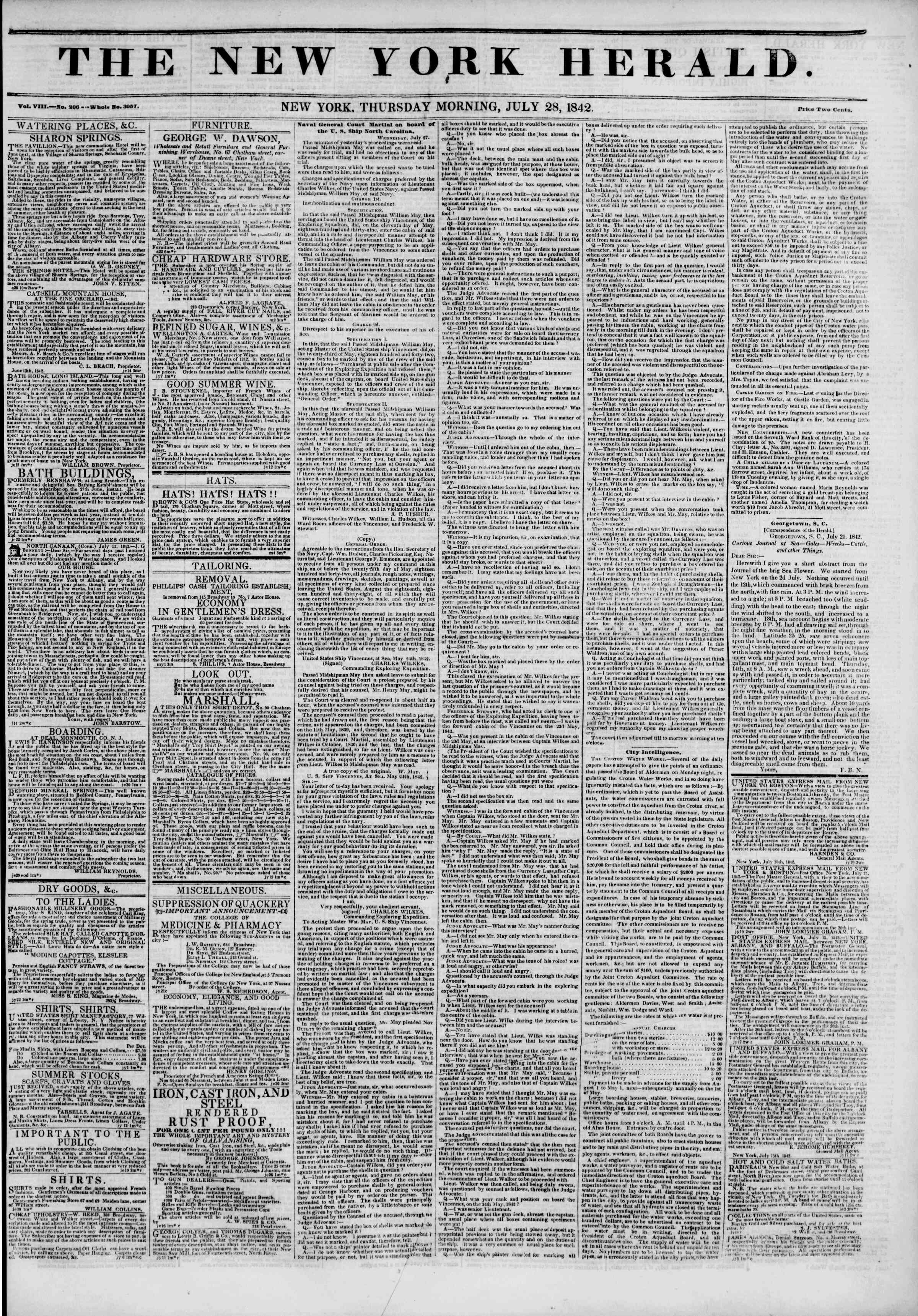 Newspaper of The New York Herald dated July 28, 1842 Page 1