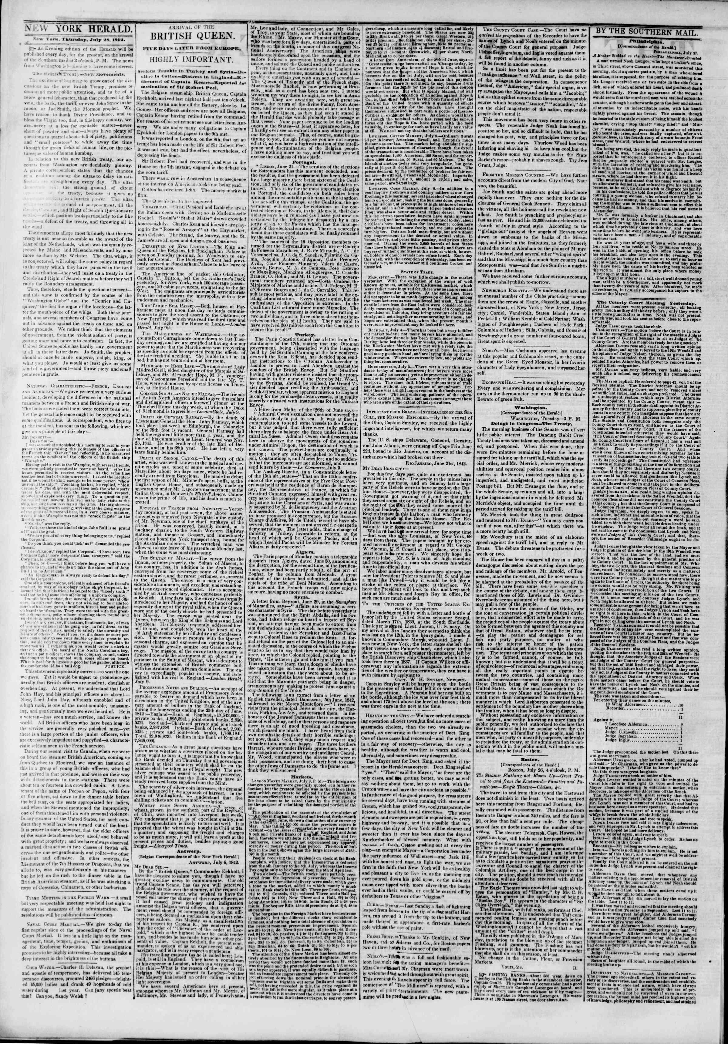 July 28, 1842 Tarihli The New York Herald Gazetesi Sayfa 2