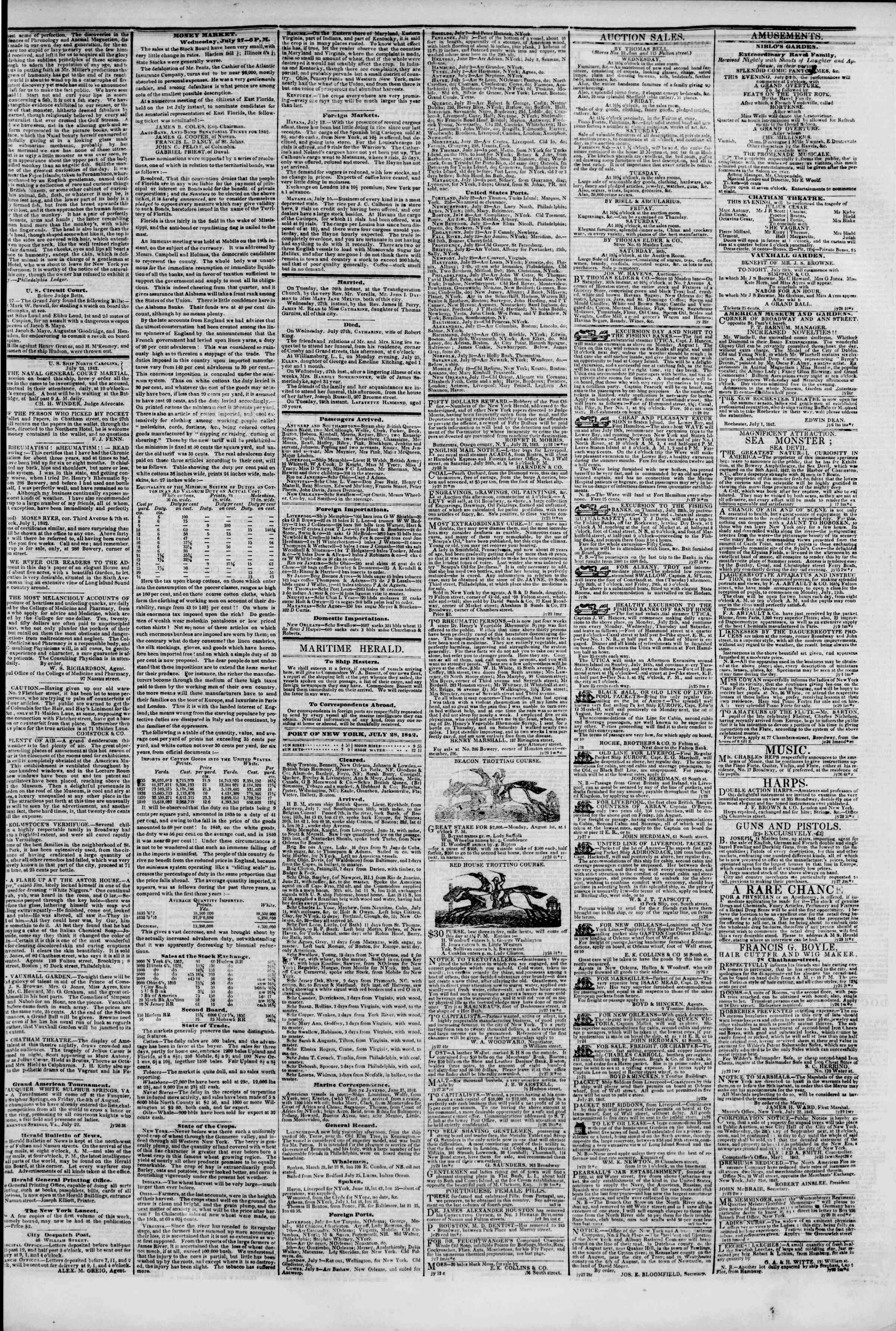 Newspaper of The New York Herald dated July 28, 1842 Page 3