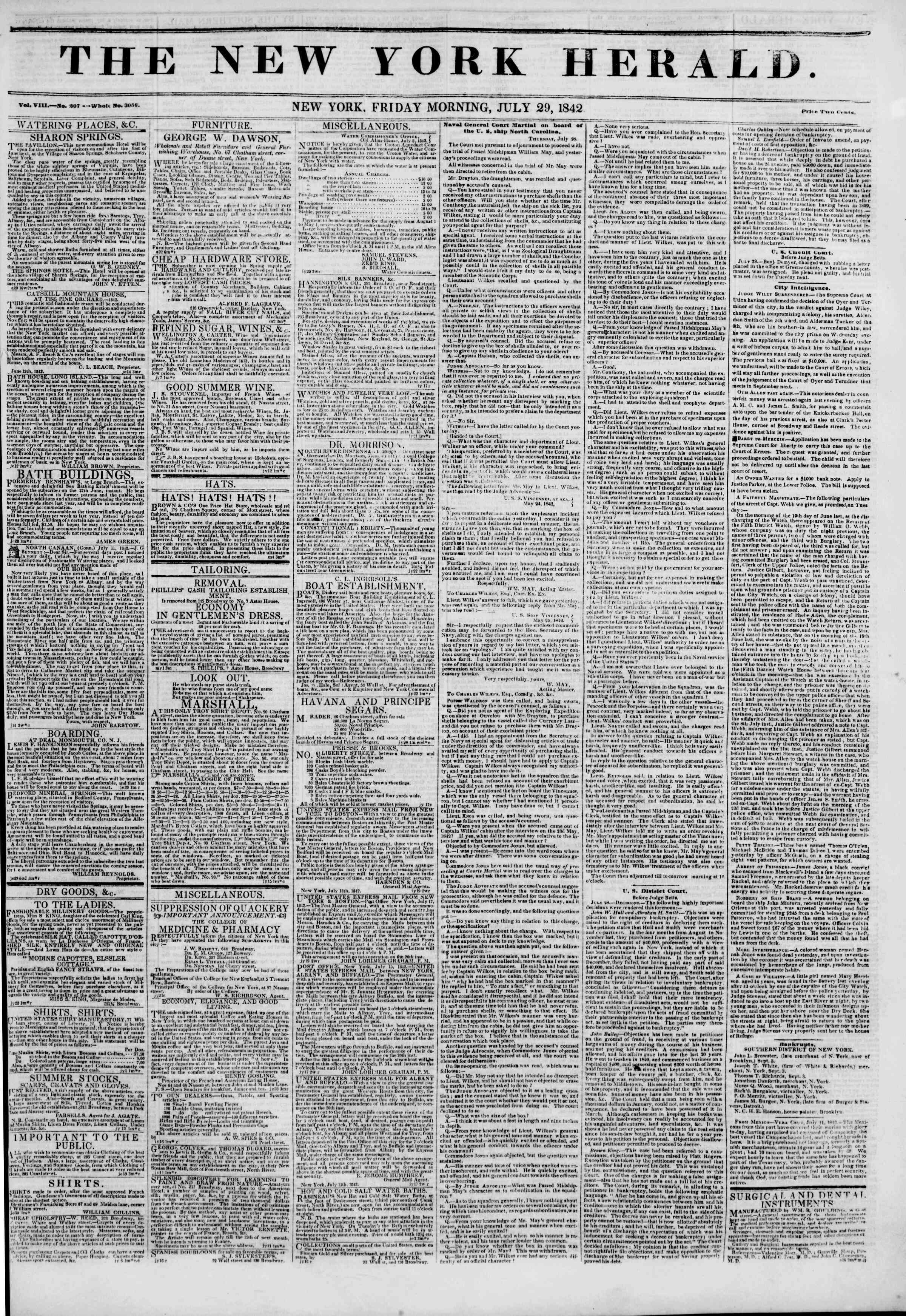 29 Temmuz 1842 tarihli The New York Herald Gazetesi Sayfa 1