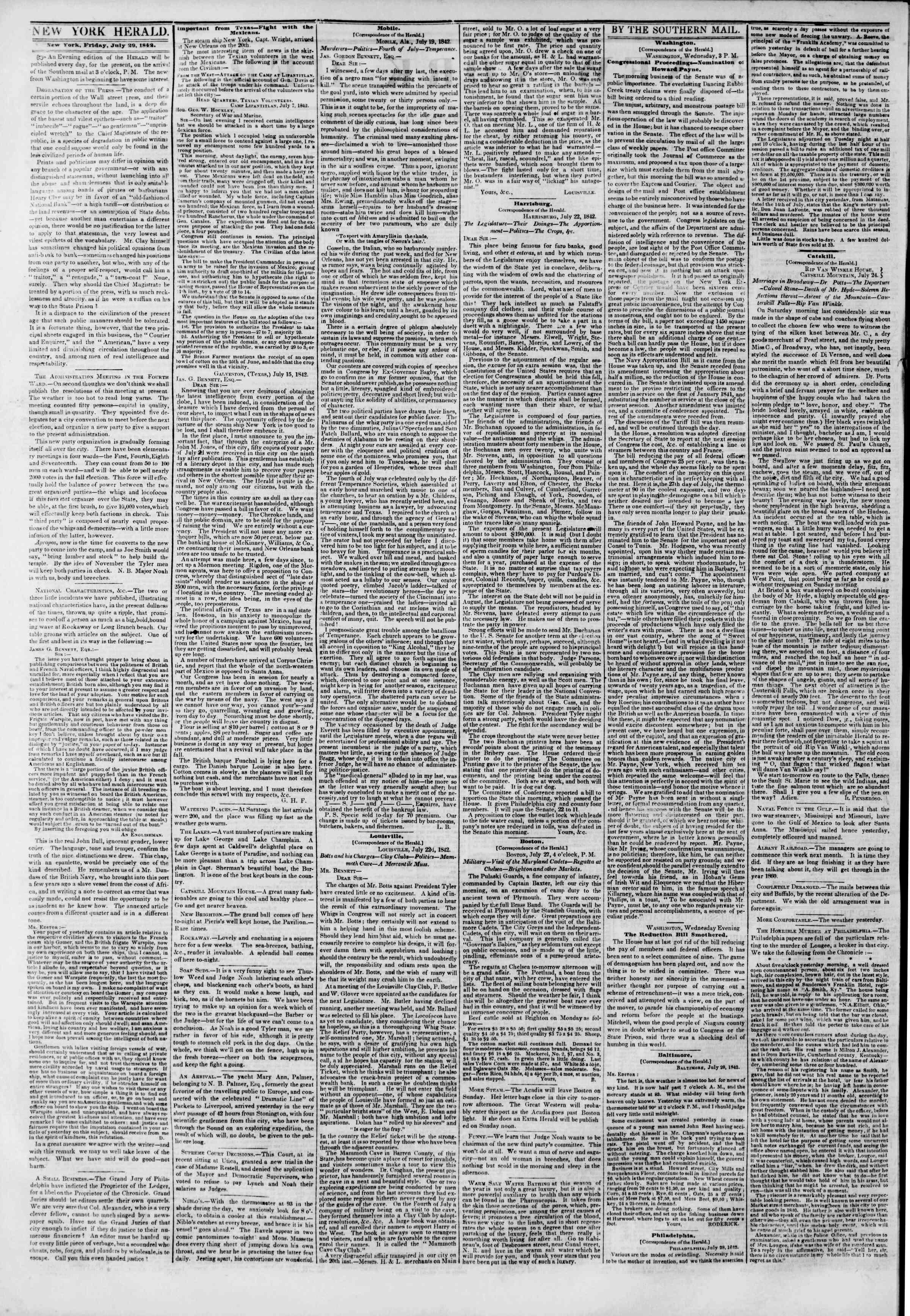 July 29, 1842 Tarihli The New York Herald Gazetesi Sayfa 2