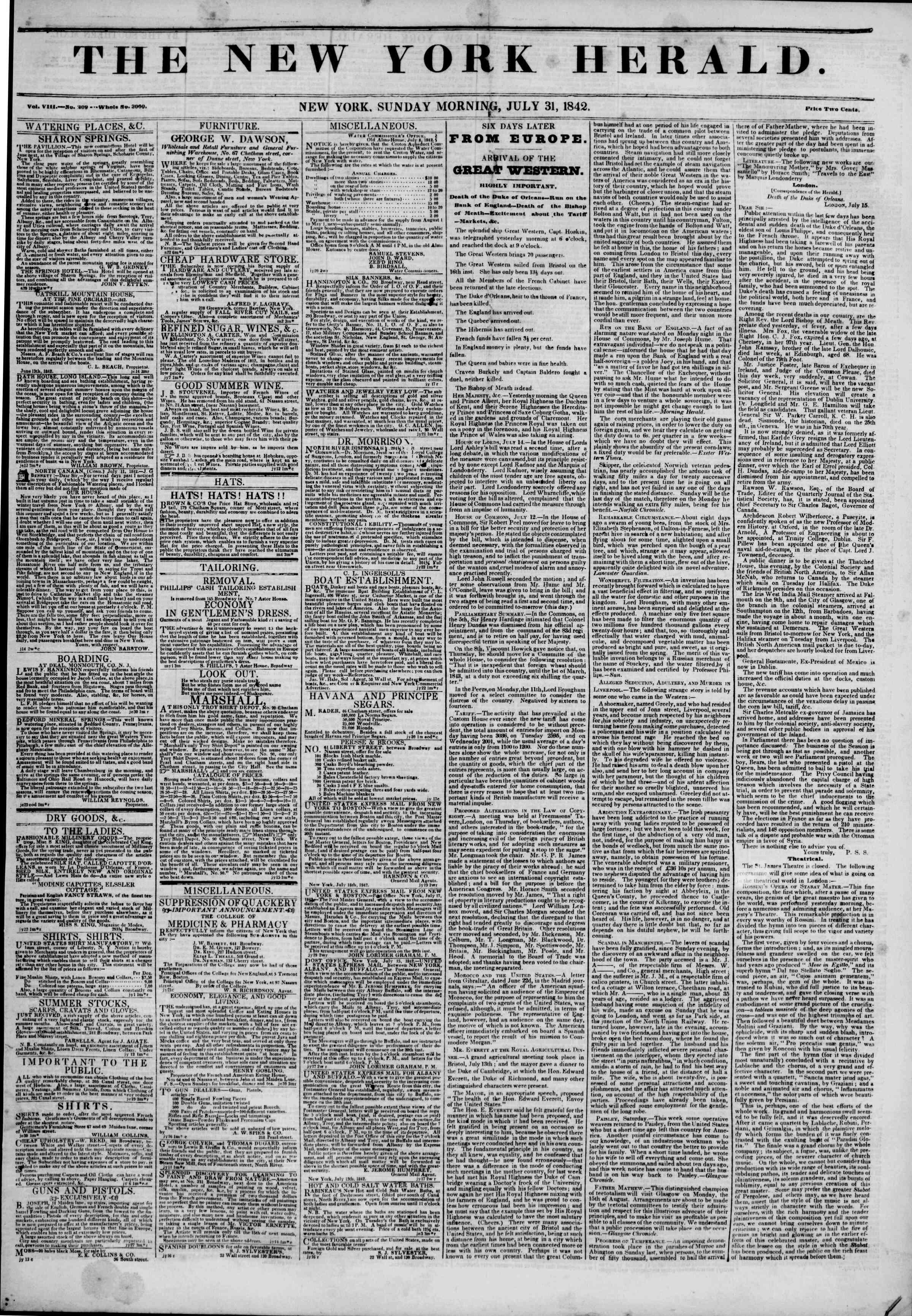 31 Temmuz 1842 tarihli The New York Herald Gazetesi Sayfa 1
