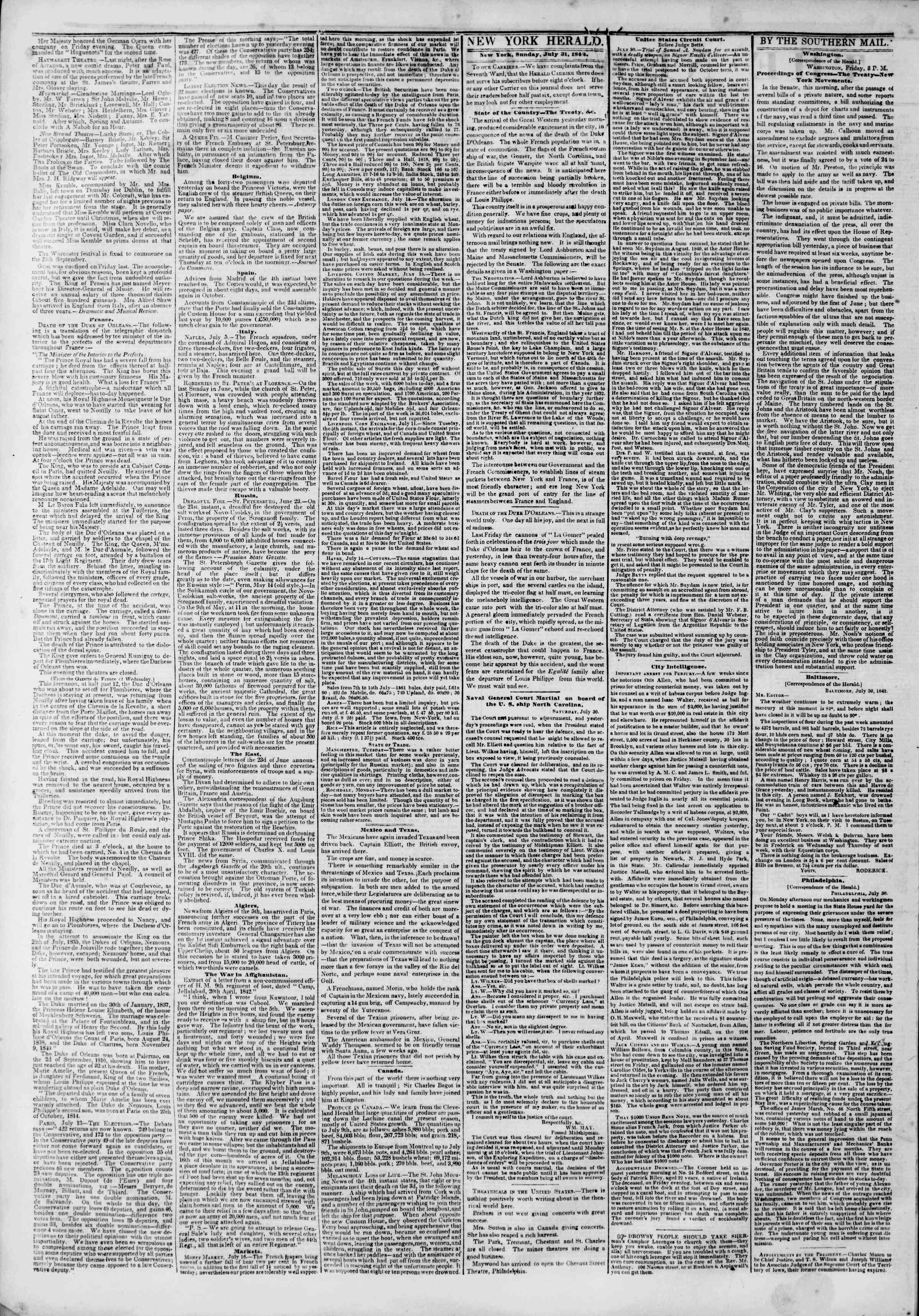 Newspaper of The New York Herald dated July 31, 1842 Page 2