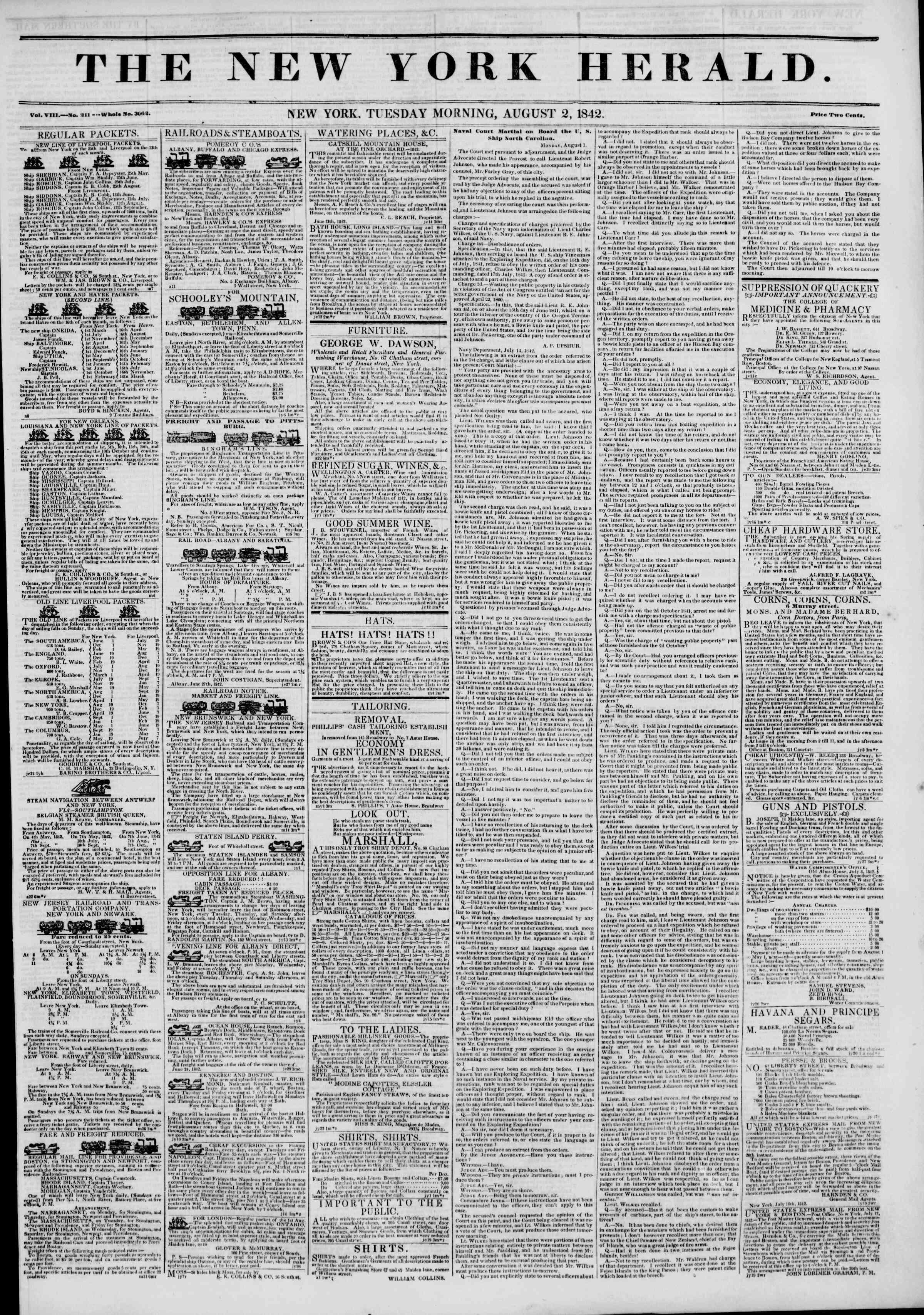 August 2, 1842 Tarihli The New York Herald Gazetesi Sayfa 1