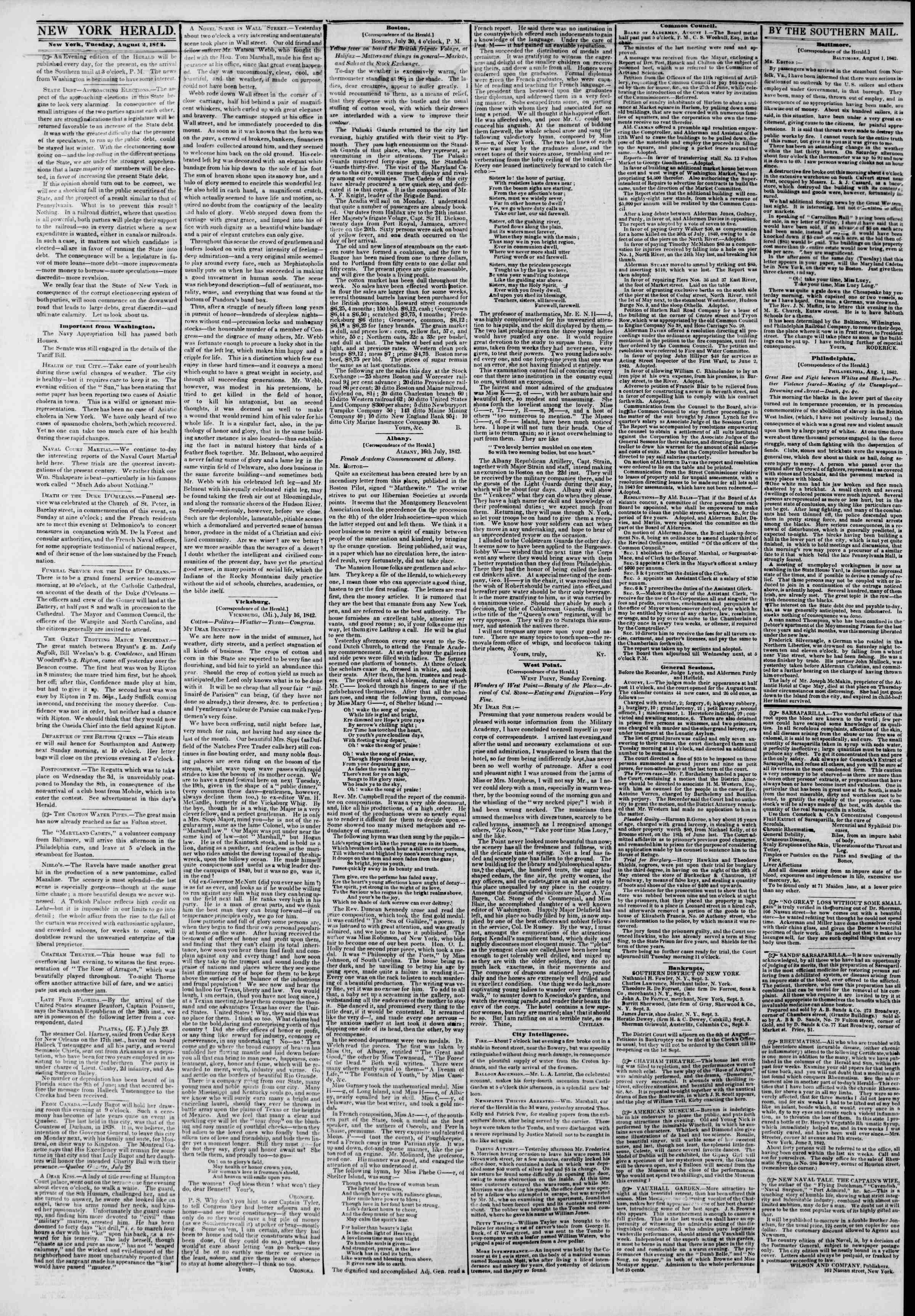 Newspaper of The New York Herald dated August 2, 1842 Page 2