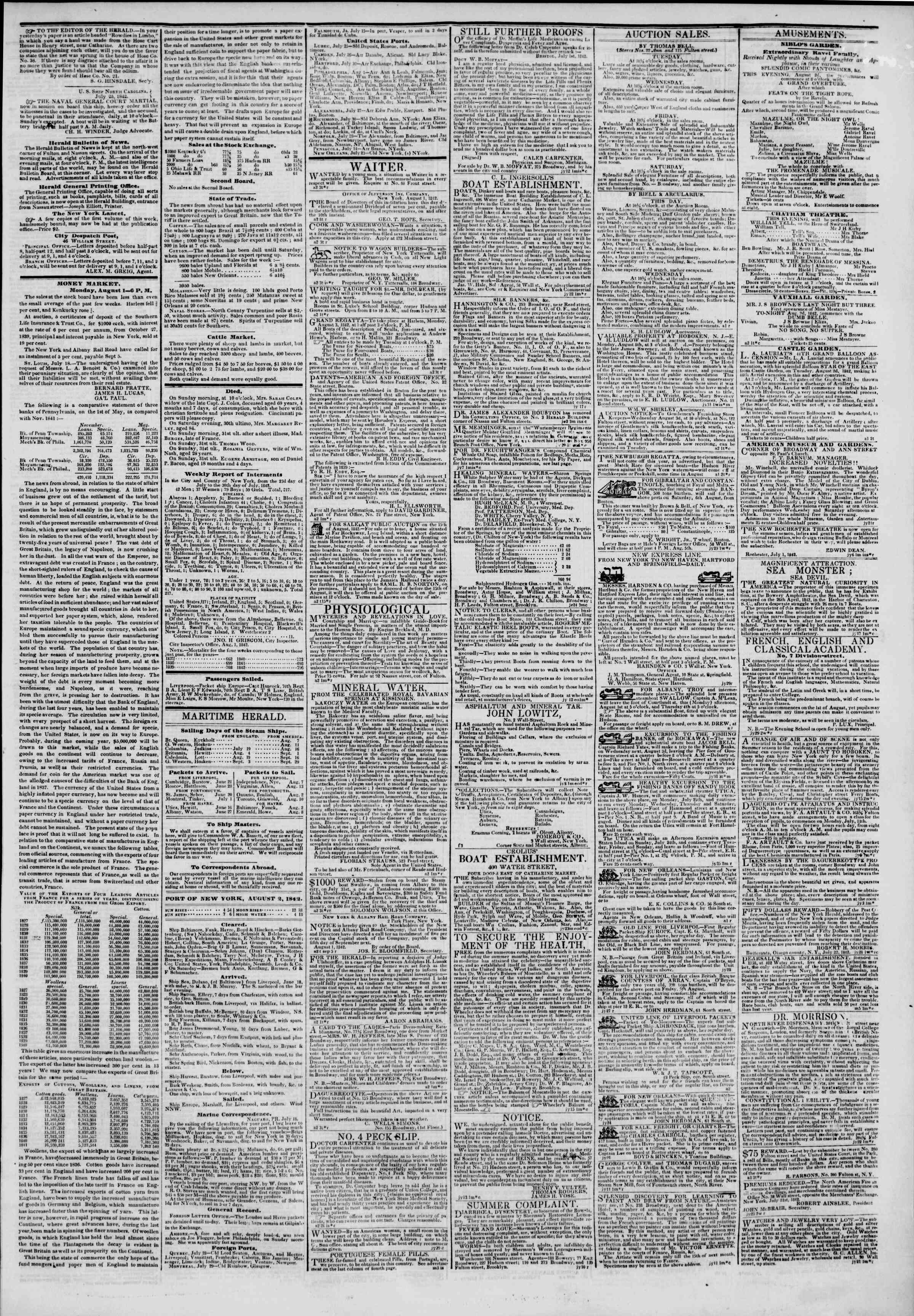 August 2, 1842 Tarihli The New York Herald Gazetesi Sayfa 3
